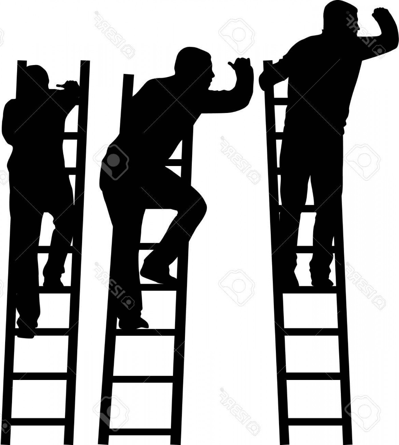Ladder Silhouette Vector: Photostock Vector Silhouette Of A Man On A Ladder
