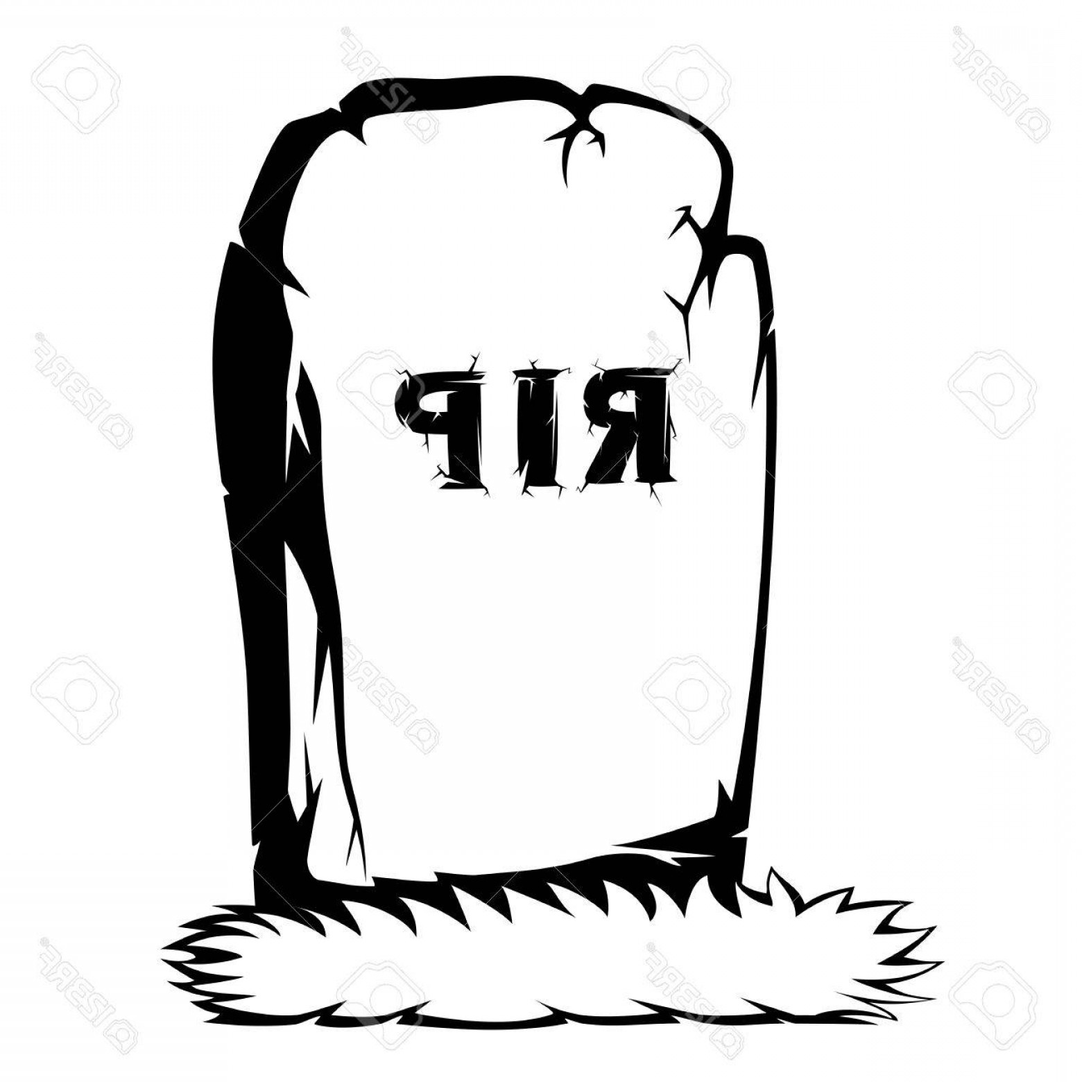 Gravestone Black And Whit Vector JPEG: Photostock Vector Silhouette Of Grass And The Gray Gravestone With Rip Black And White Text