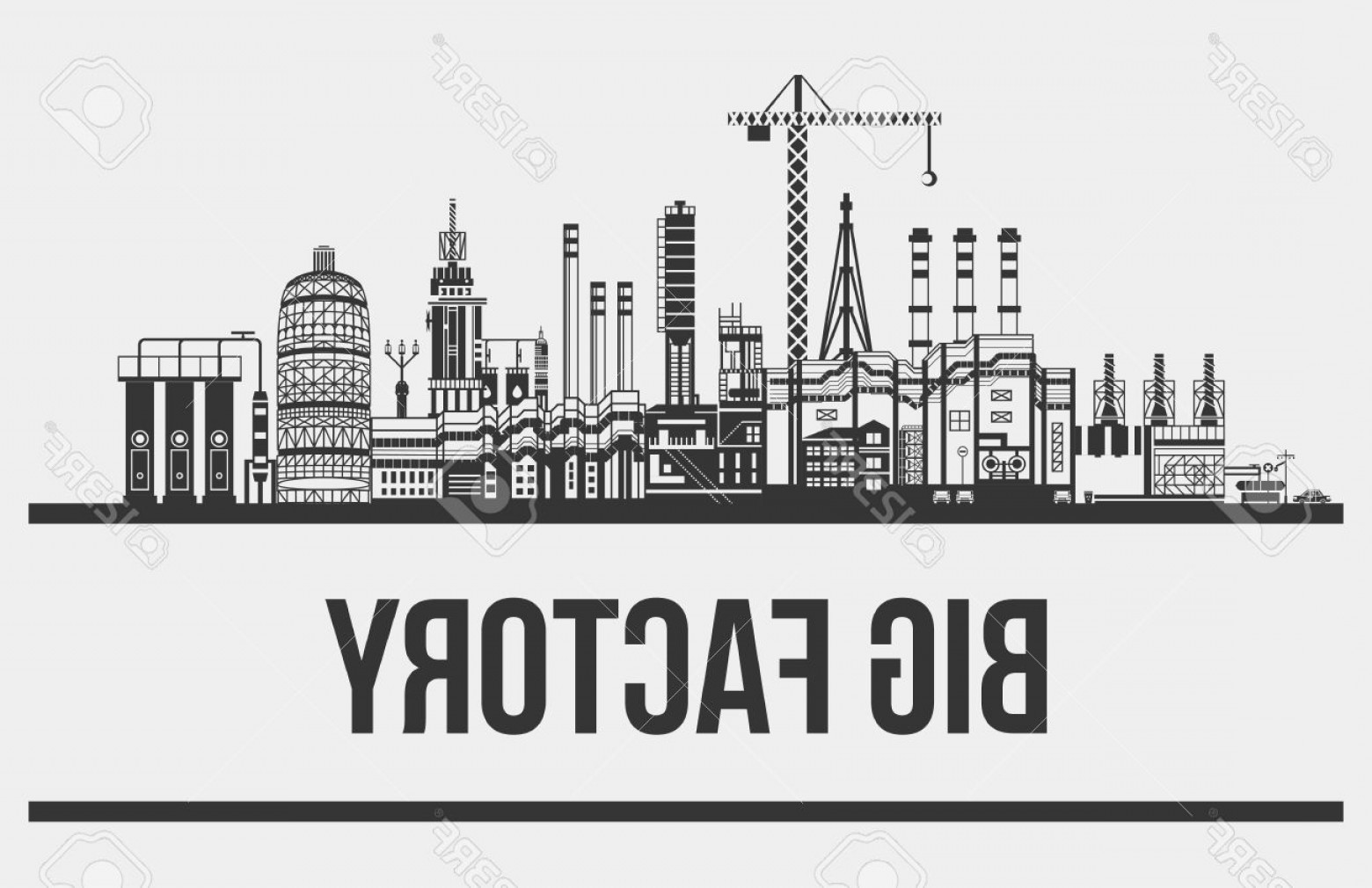 Cars Skyline Vector: Photostock Vector Silhouette Of Huge Plant Or Factory Manufactory Line Contour Of Crane With Hook And Conveyors Cars A