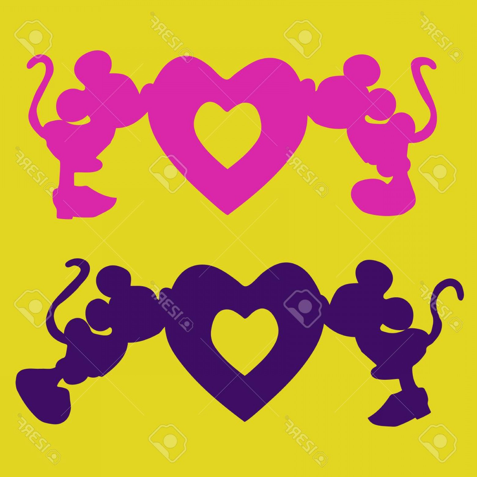 Mickey Vector: Photostock Vector Silhouette Of Mickey Mouse Boy And Girl Kiss The Heart An Illustration For Valentine S Day On A Yell