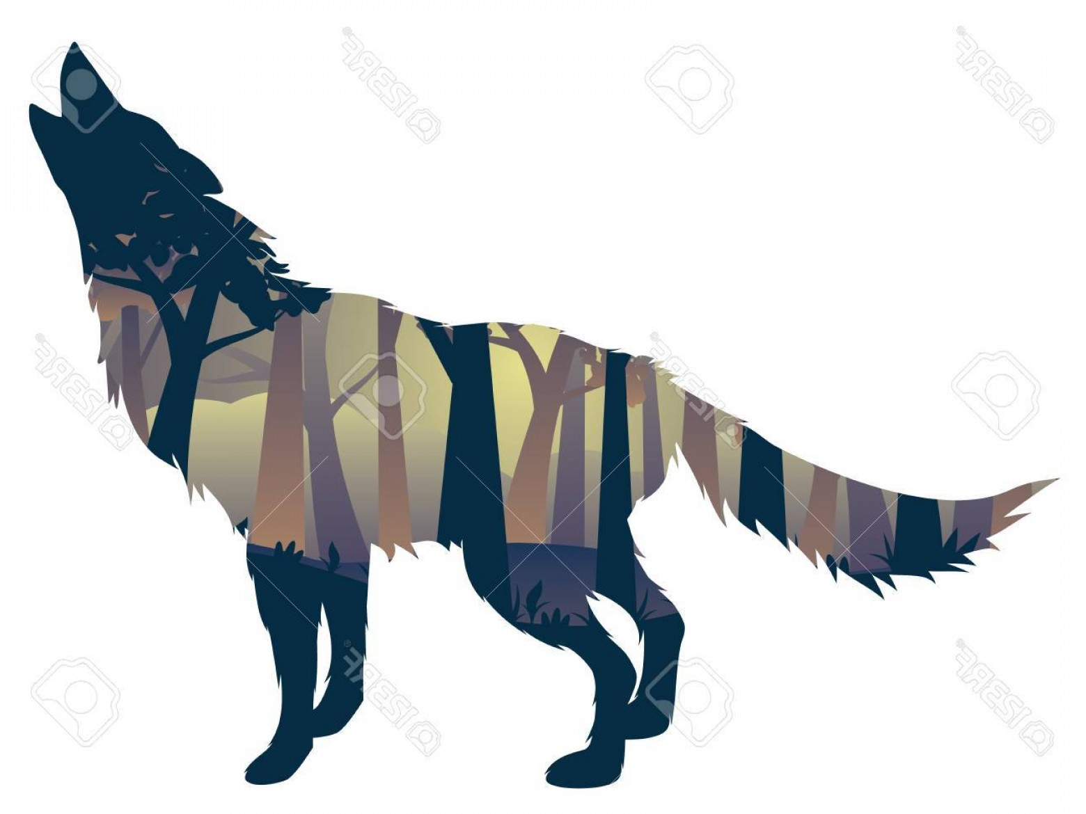 Calm Wolf Vector: Photostock Vector Silhouette Of The Wolf Howling Abstraction With Night Forest