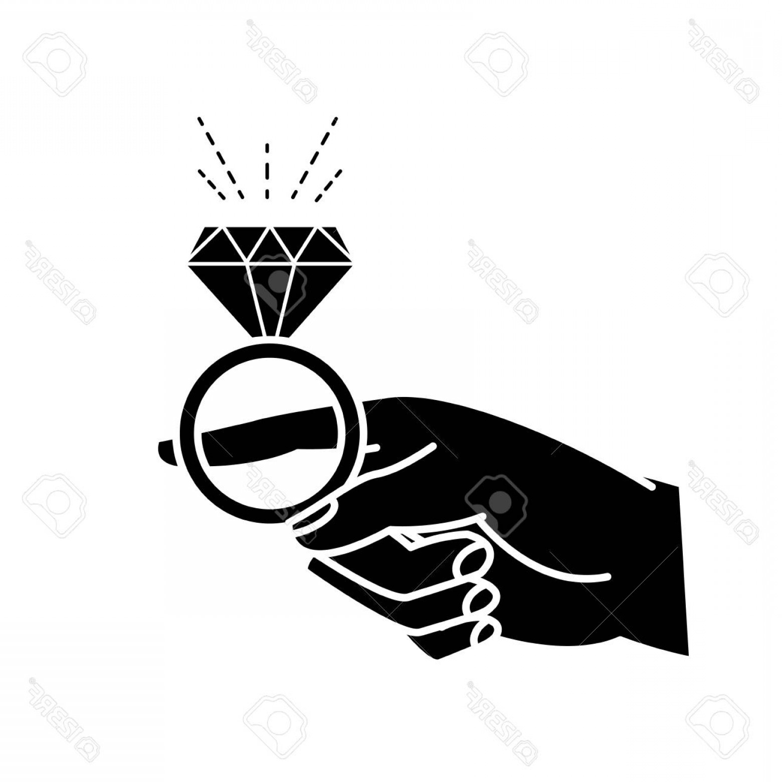 Hand With Ring Silhouette Vector: Photostock Vector Silhouette Of Woman Hand With Engagement Ring Diamond