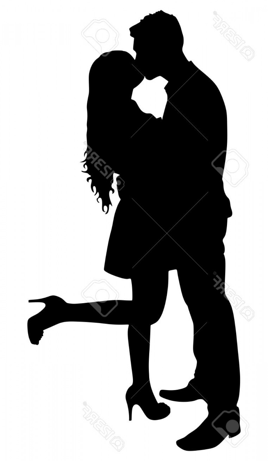 Vector Silhouette Love: Photostock Vector Silhouette Of Young Couple In Love Kissing Vector
