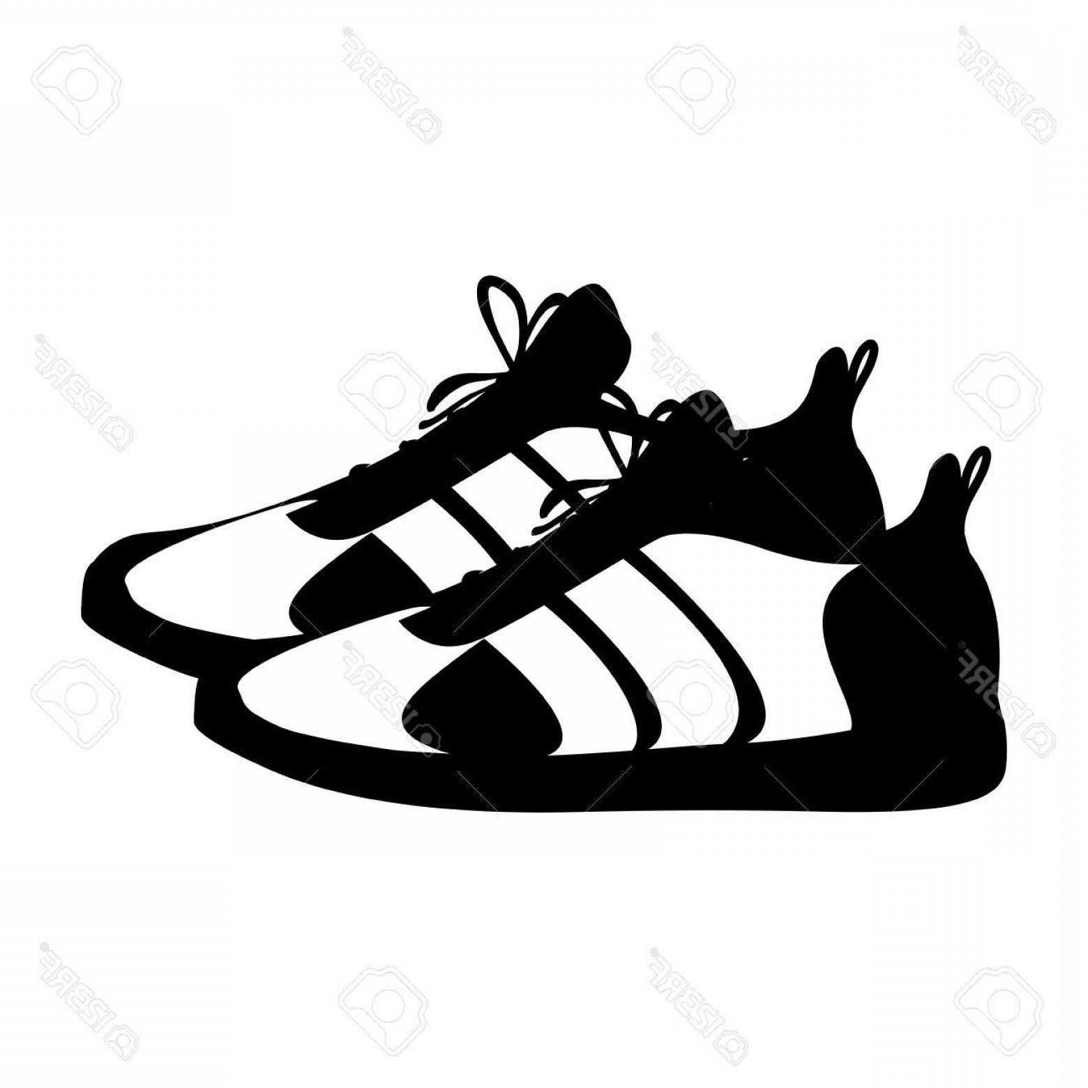 Sneaker Silhouette Vector: Photostock Vector Silhouette Pair Black Fitness Sneakers Design Icon Vector Illustration