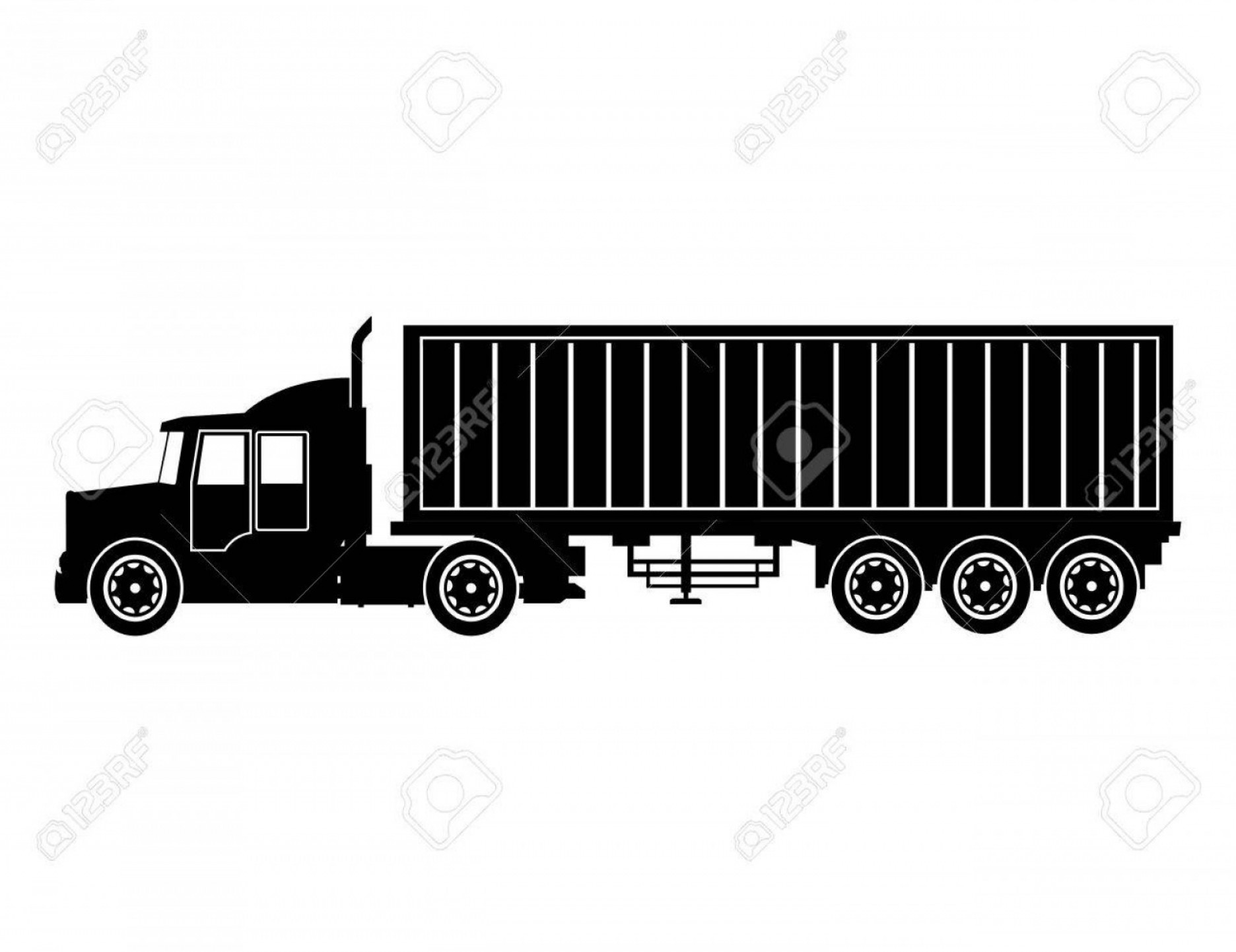 Vector Truck And Trailer Hauling: Photostock Vector Silhouette Truck Trailer Container Delivery Transport Vector Illustration Eps