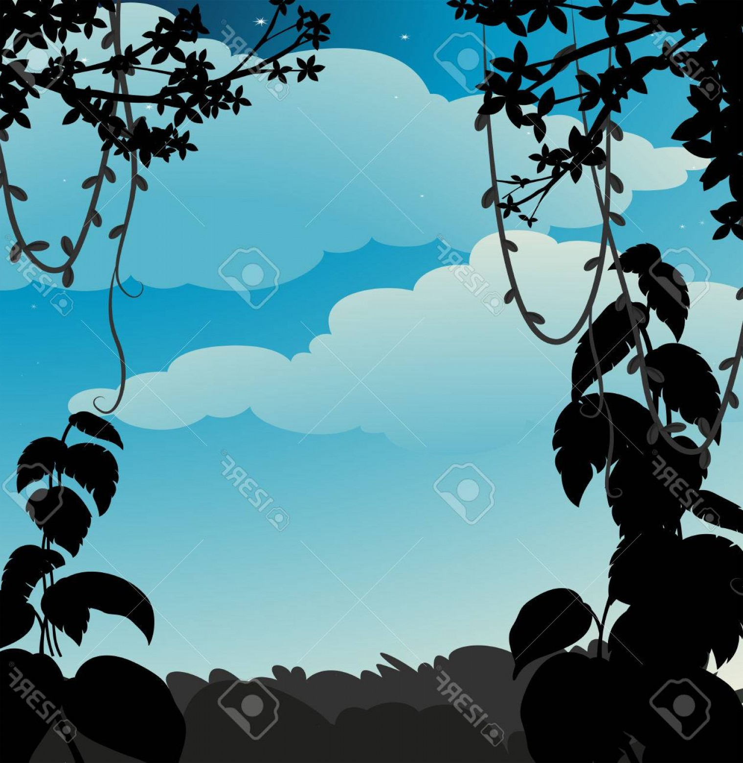 Vector Vine Tree: Photostock Vector Silhouette Vine Hanging Down From The Tree