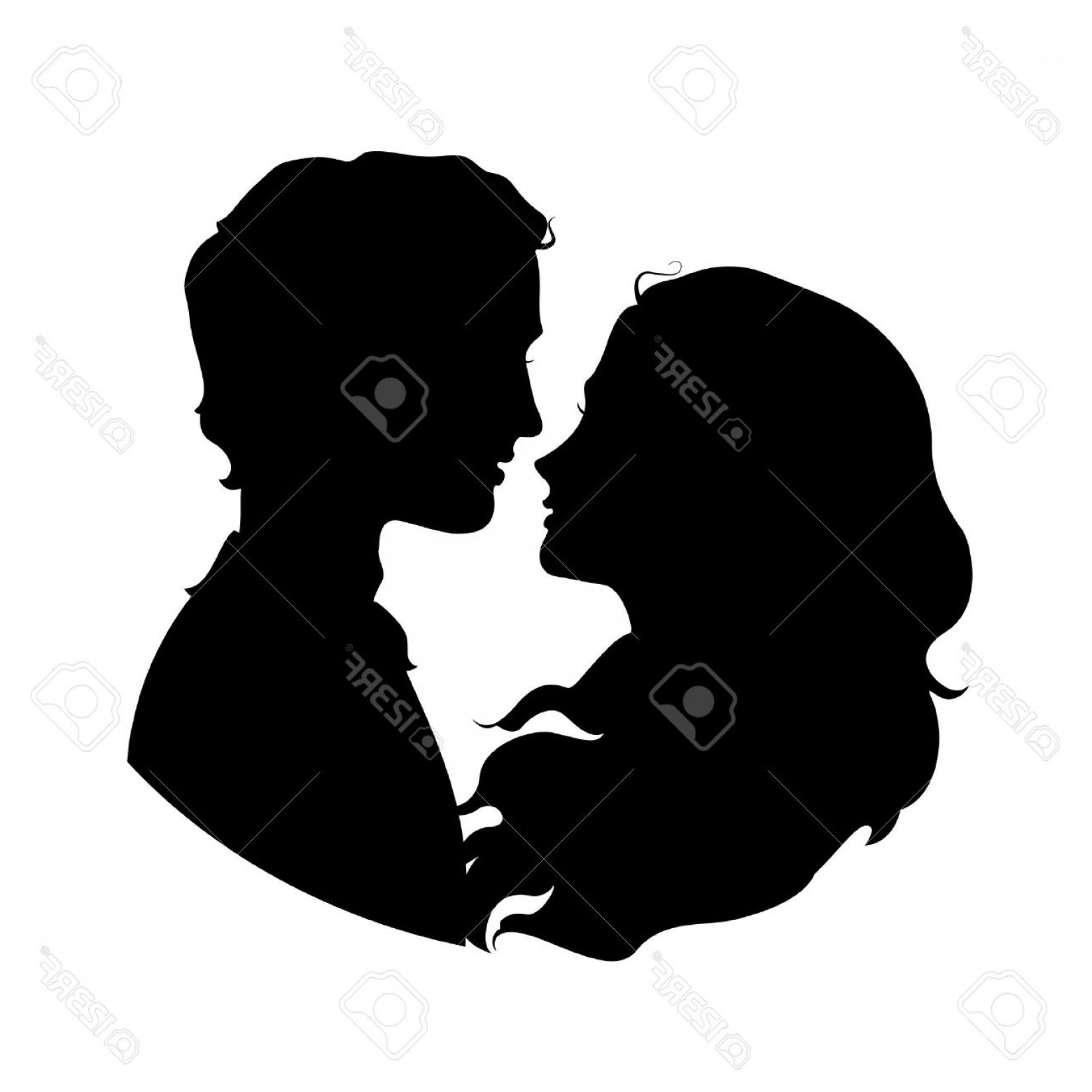 Vector Silhouette Love: Photostock Vector Silhouettes Of Loving Couple