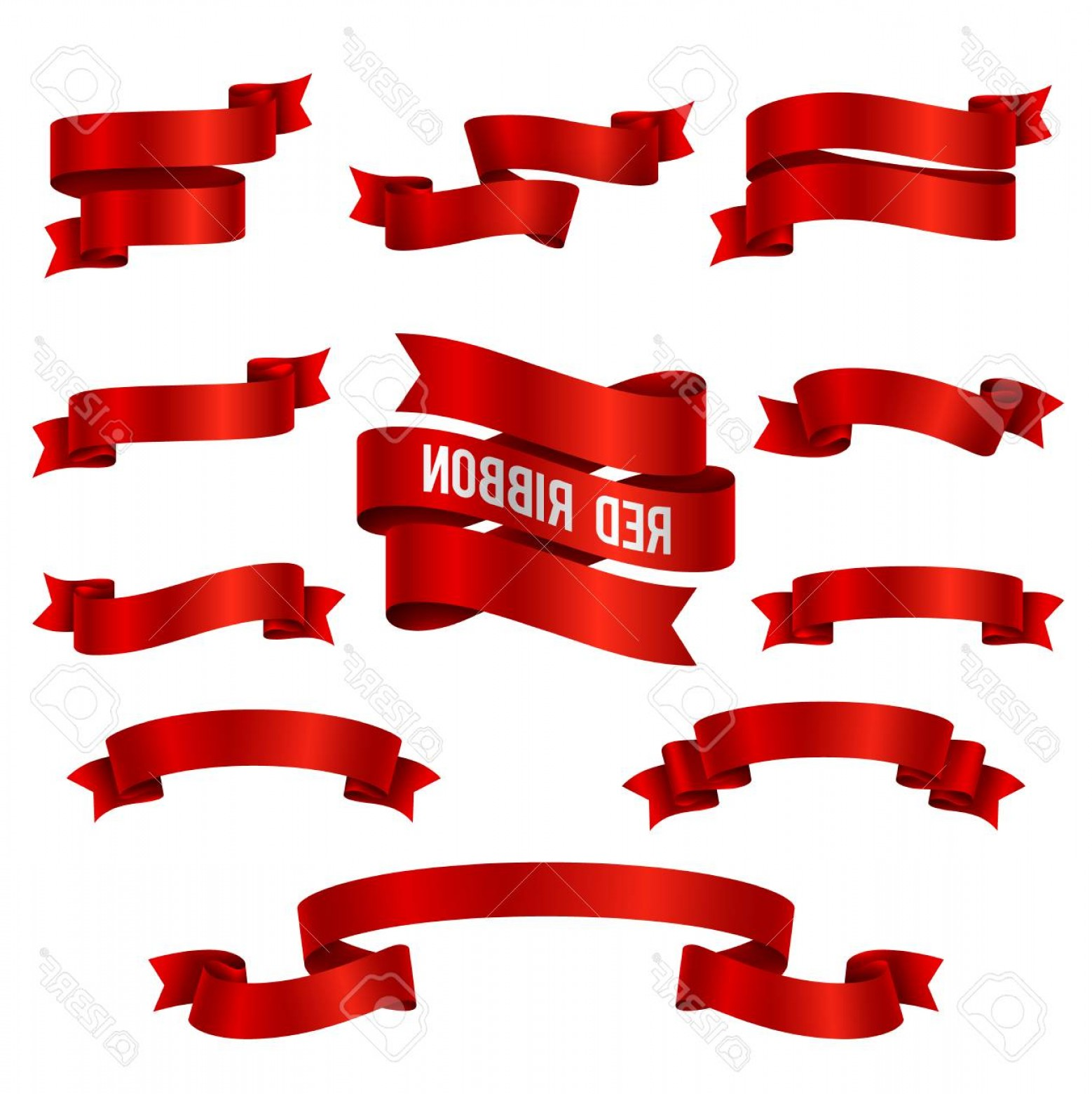 Ribbion Banner Vector: Photostock Vector Silk Red D Ribbon Banners Vector Set Isolated Illustration Of Red Ribbon Collection For Decoration