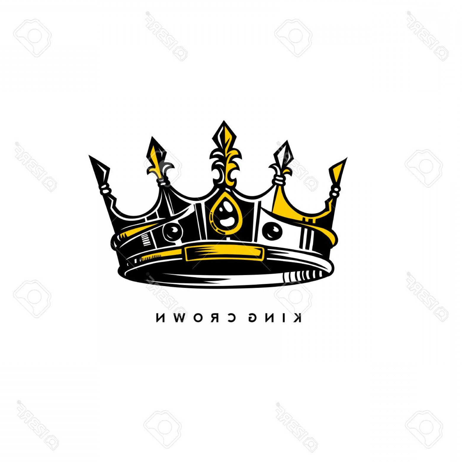 Silver Prince Vector: Photostock Vector Silver And Gold King Crown Logo On White Background With Typography Vector Illustration Design