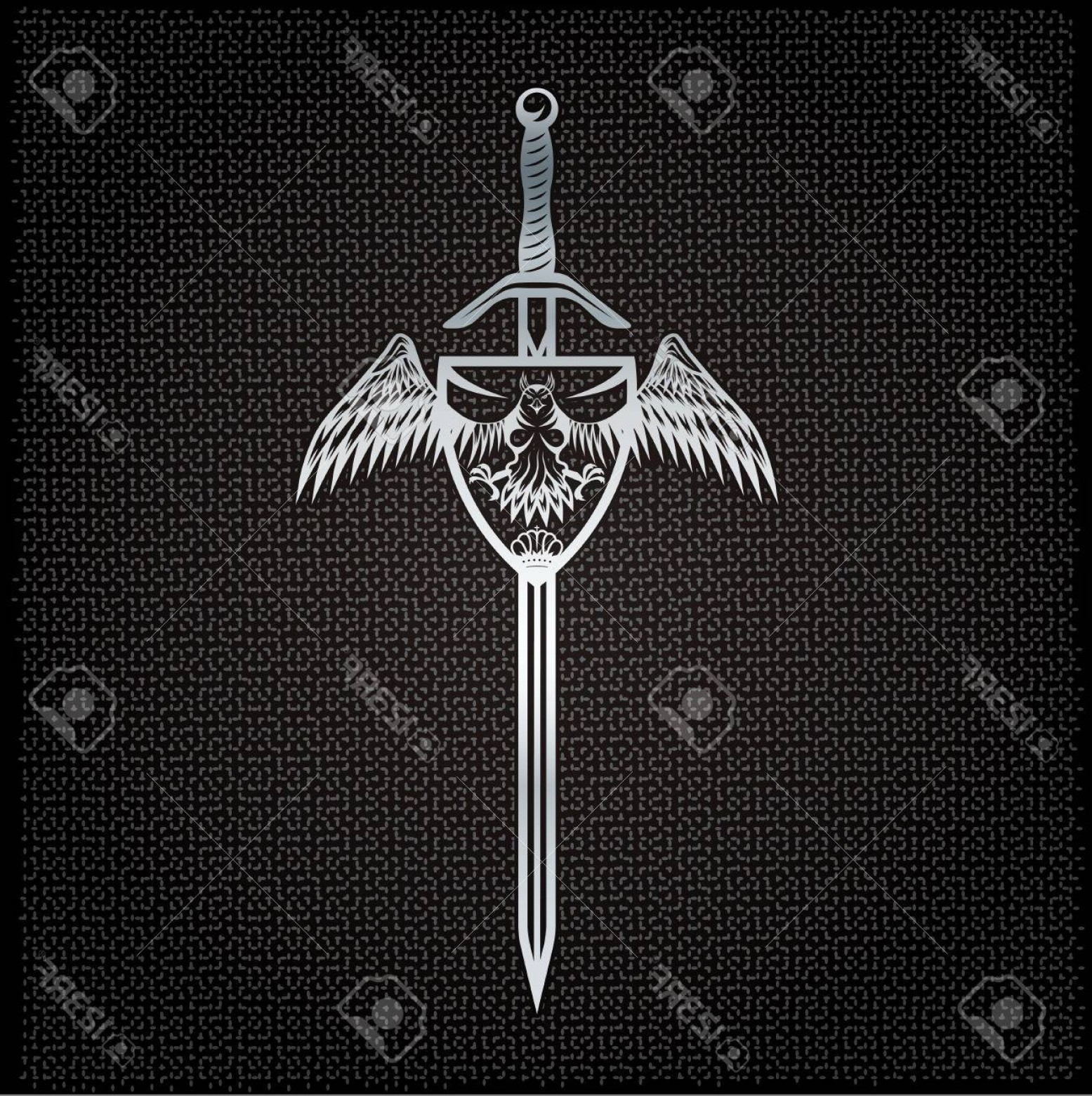 Vector Eagle Shield Sword: Photostock Vector Silver Eagle With Crown And Sword Crest On Metal Background