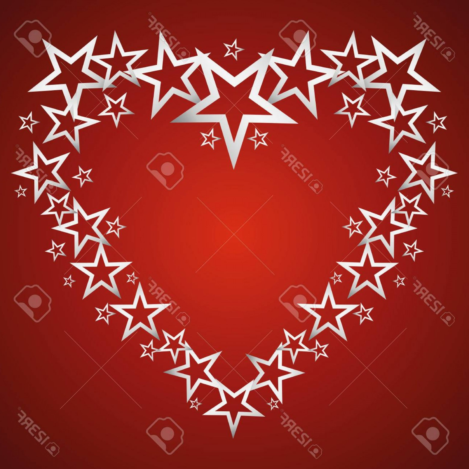 Vectors Heart And Star: Photostock Vector Silver Stars In The Form Of Hearts On A Red Background Background Vector Illustration Frame Card