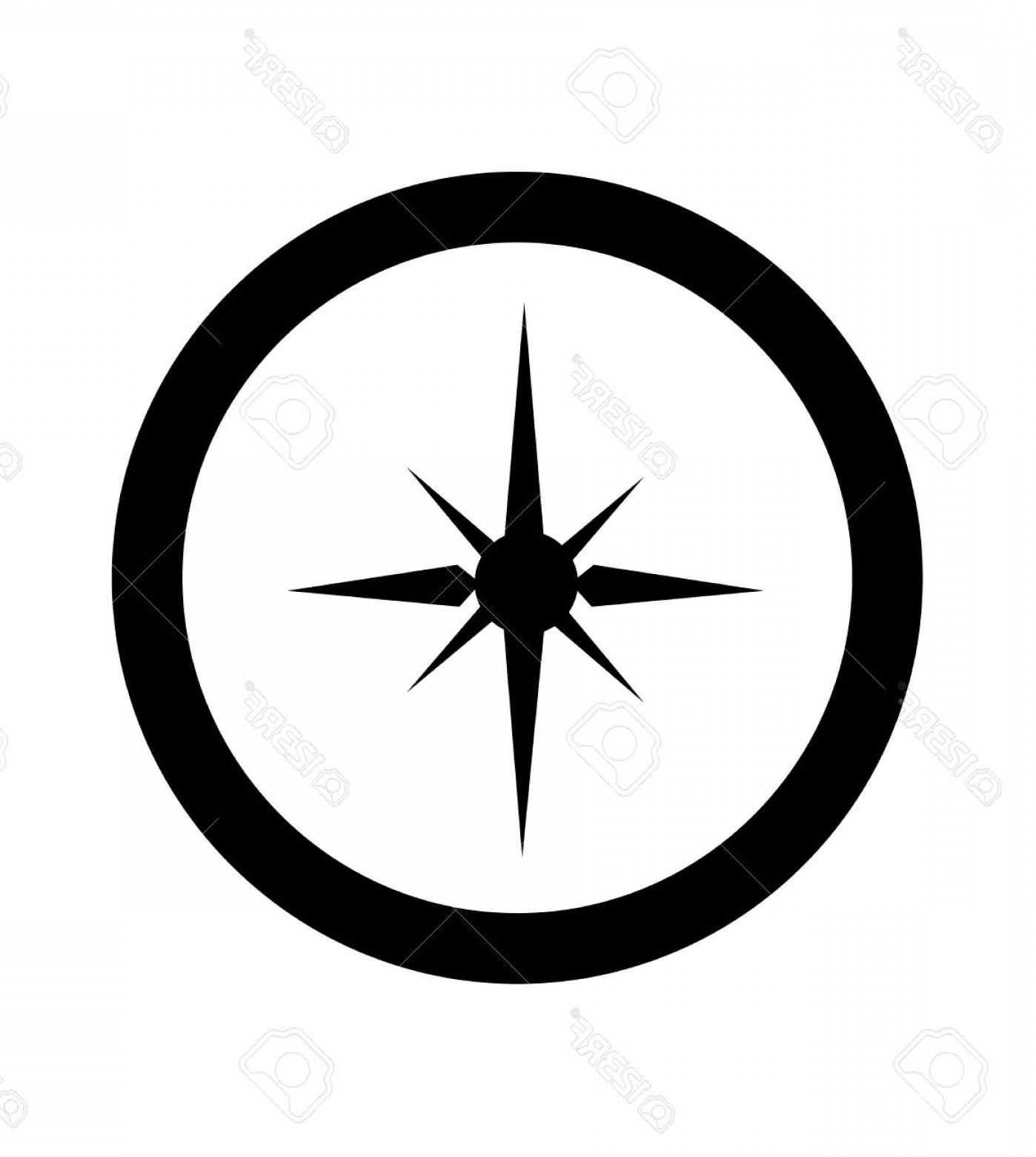 Simple Compass Vector Black And White: Photostock Vector Simple Black And Minimal Compass Logo Sign Or Icon
