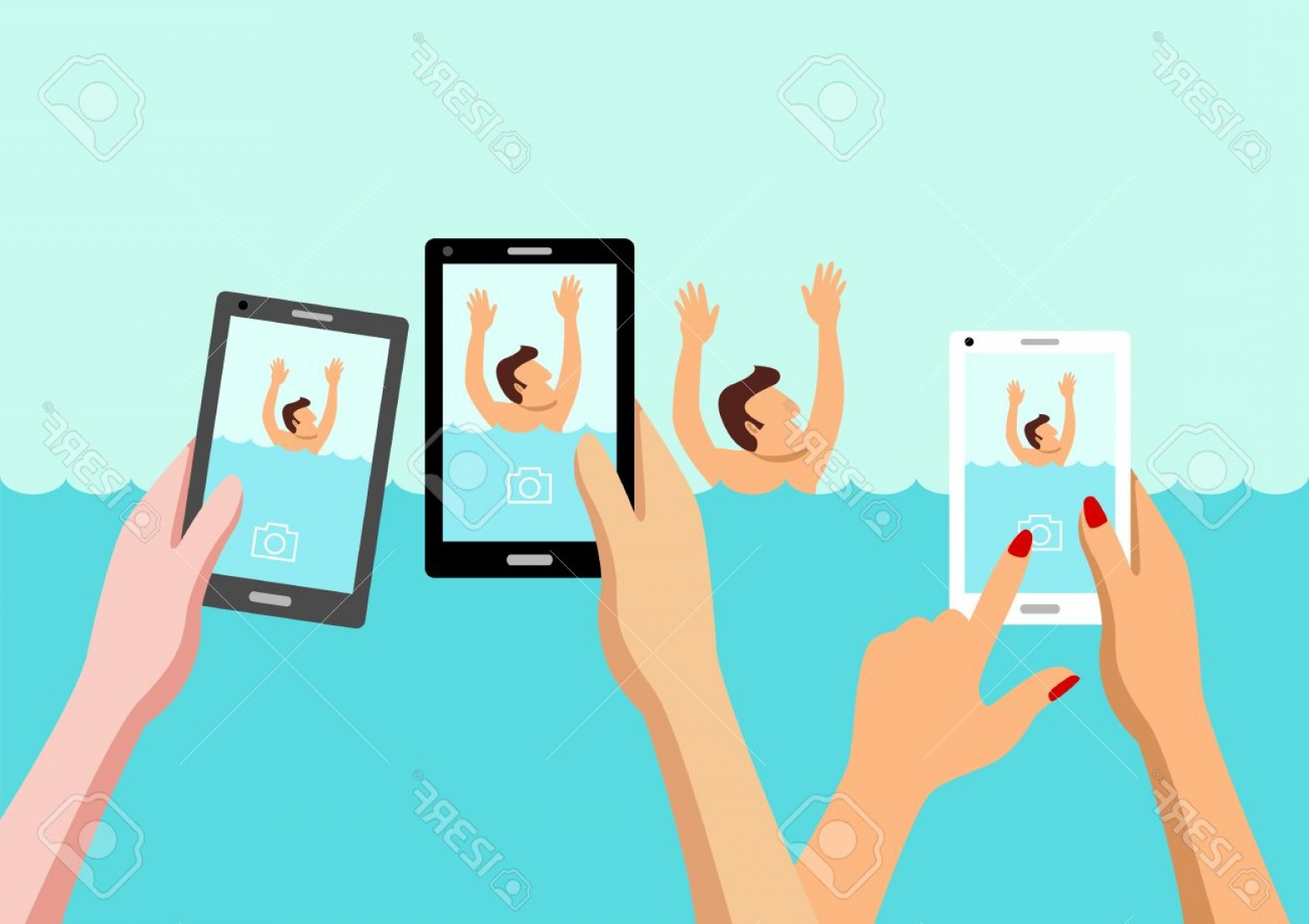 Man Drowning Vector: Photostock Vector Simple Cartoon Of People Taking Photo Of Drowning Man Concept For Ignorance Social Media Effect