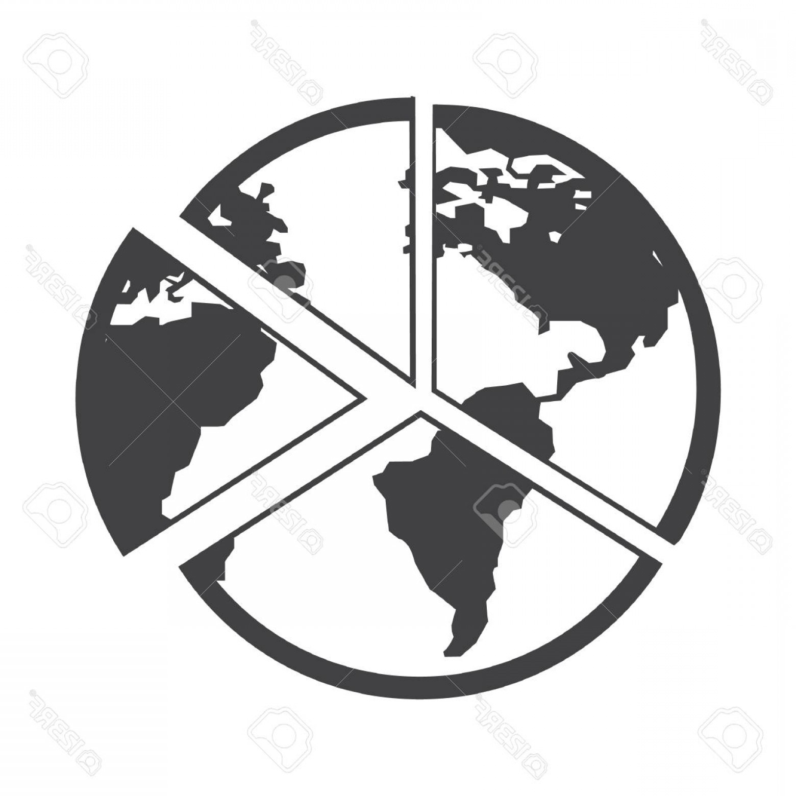 World Icon Vector Simple: Photostock Vector Simple Flat Black Globe Icon Vector