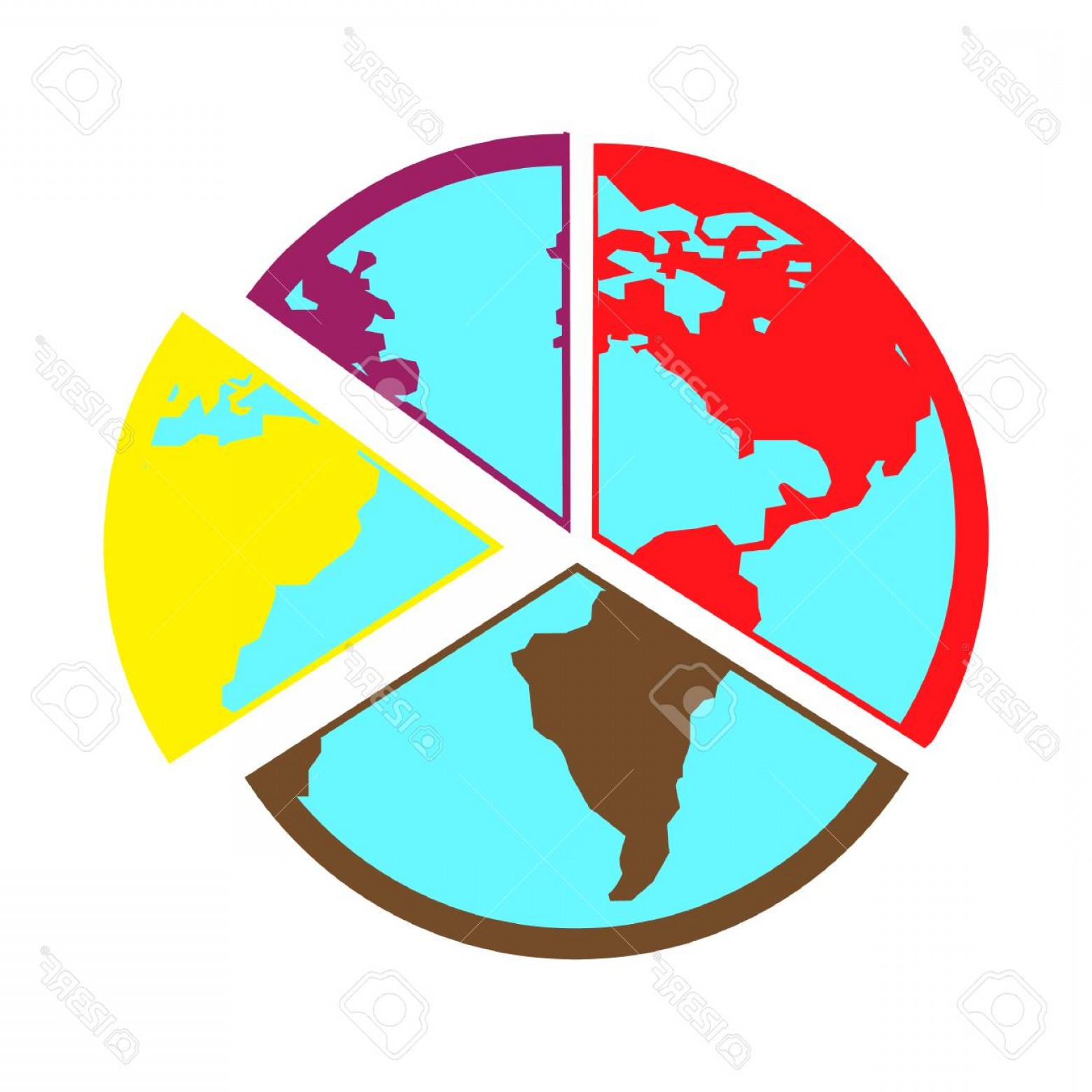World Icon Vector Simple: Photostock Vector Simple Flat Color Globe Icon Vector