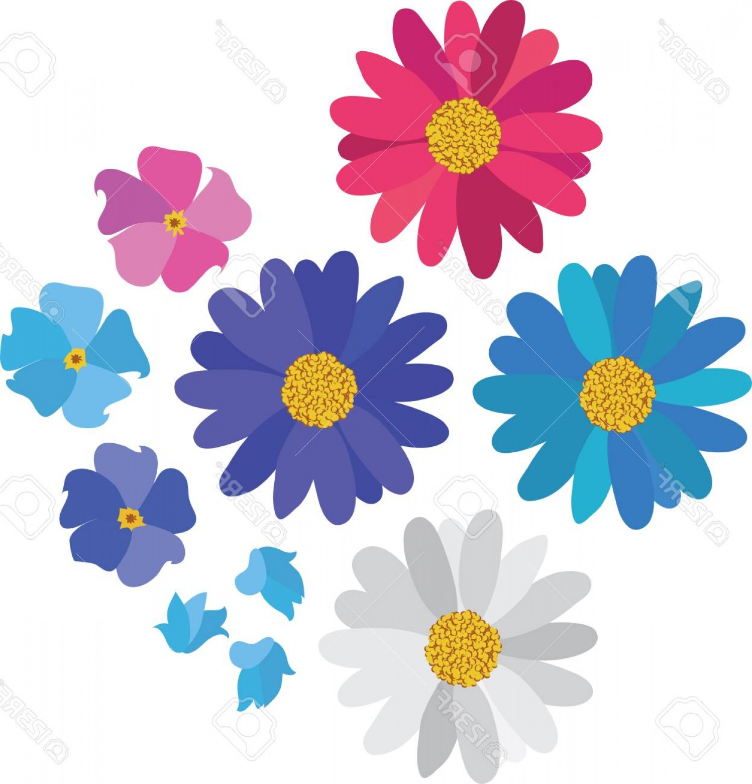 Simple Vector Daisy: Photostock Vector Simple Flower Daisy Collection Isolated On White For Design