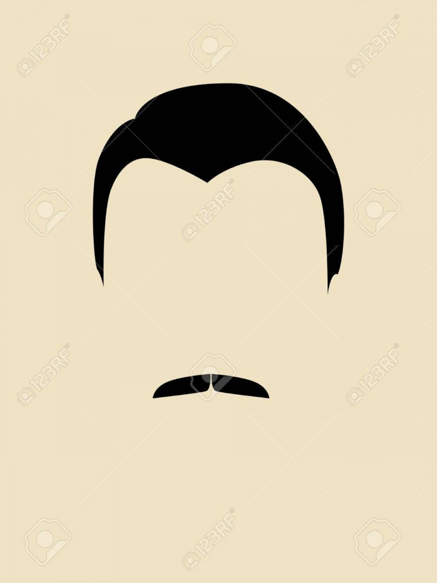 Mustache Face Vector: Photostock Vector Simple Graphic Of A Man Face With Mustache