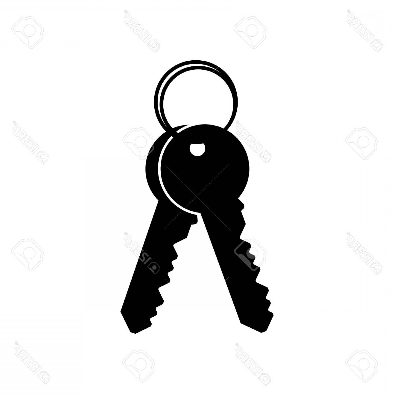 Hand With Ring Silhouette Vector: Photostock Vector Simple Keys With Key Ring Silhouette Icon