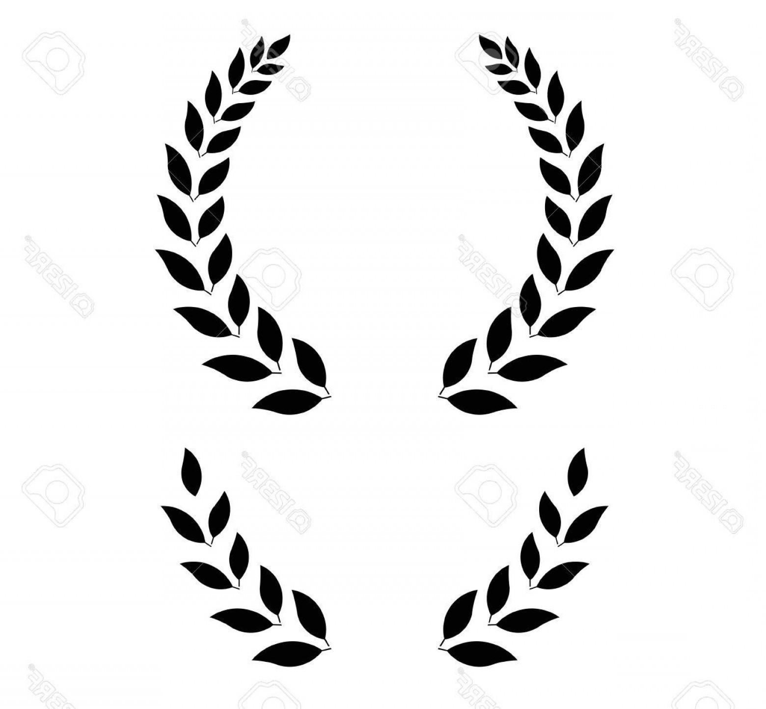 Half Leaf Wreath Vector: Photostock Vector Simple Laurel Wreath Round And Half For Main Emblem And Bottom Vector Format Fully Editable You Can