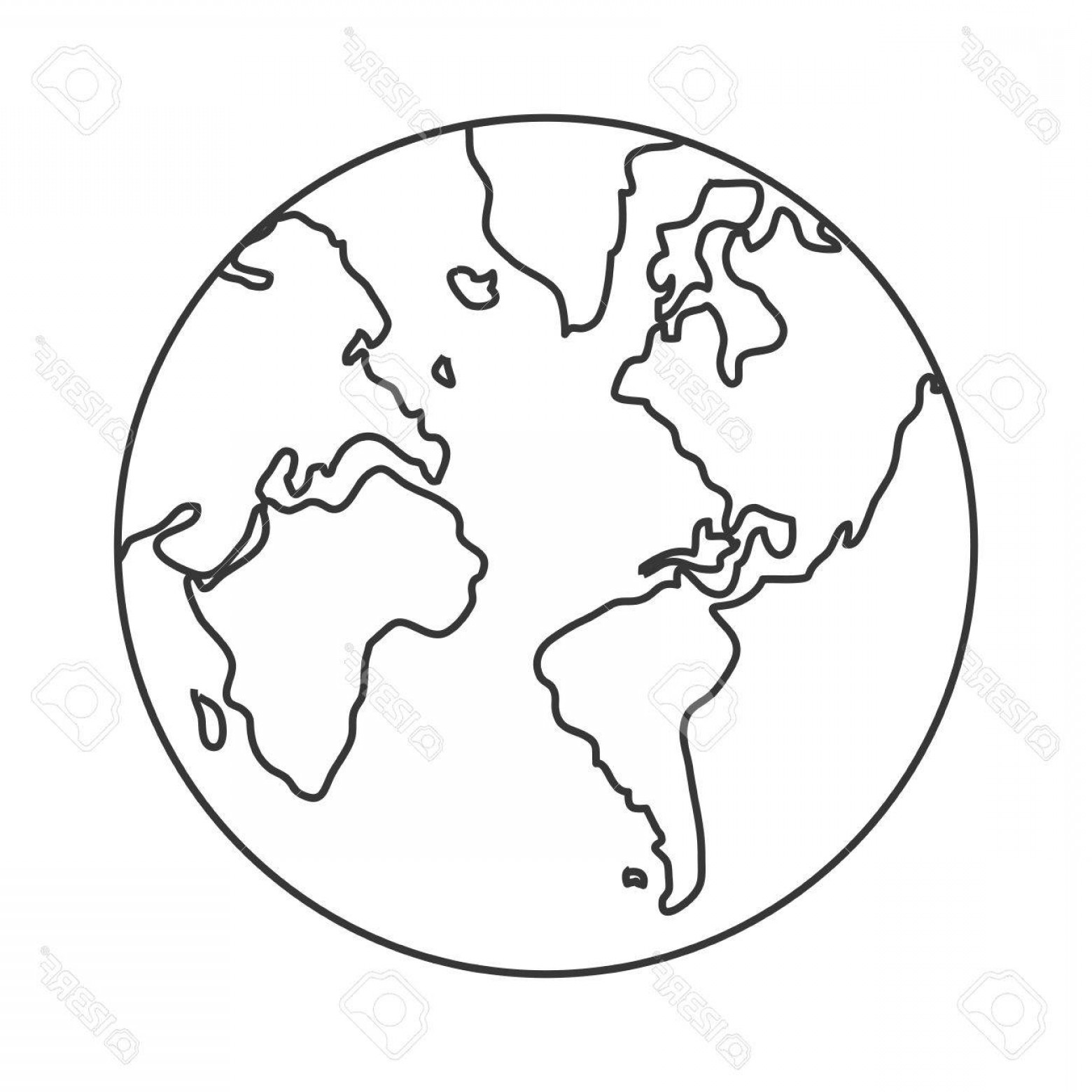 World Icon Vector Simple: Photostock Vector Simple Line Design Earth Globe With Distinction Between Water And Land Icon Vector Illustration
