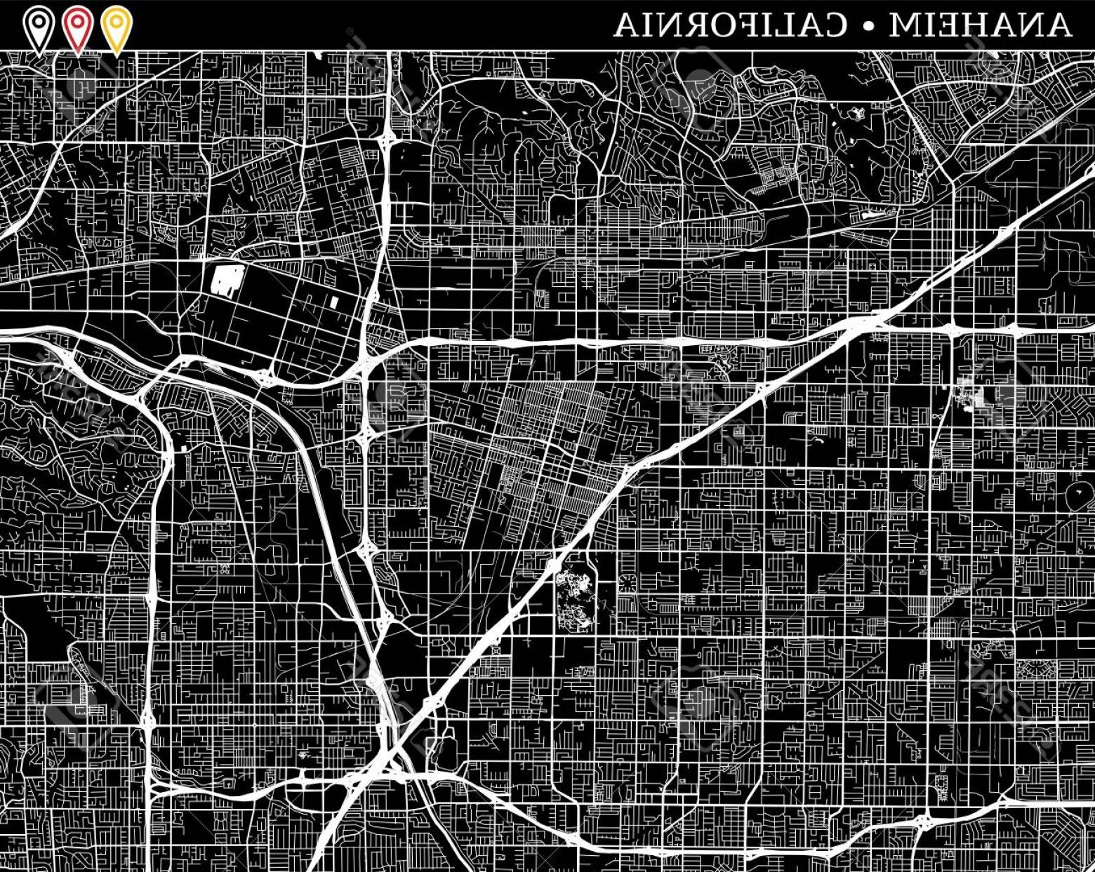 California Black And White Vector: Photostock Vector Simple Map Of Anaheim California Usa Black And White Version For Clean Backgrounds And Prints This M