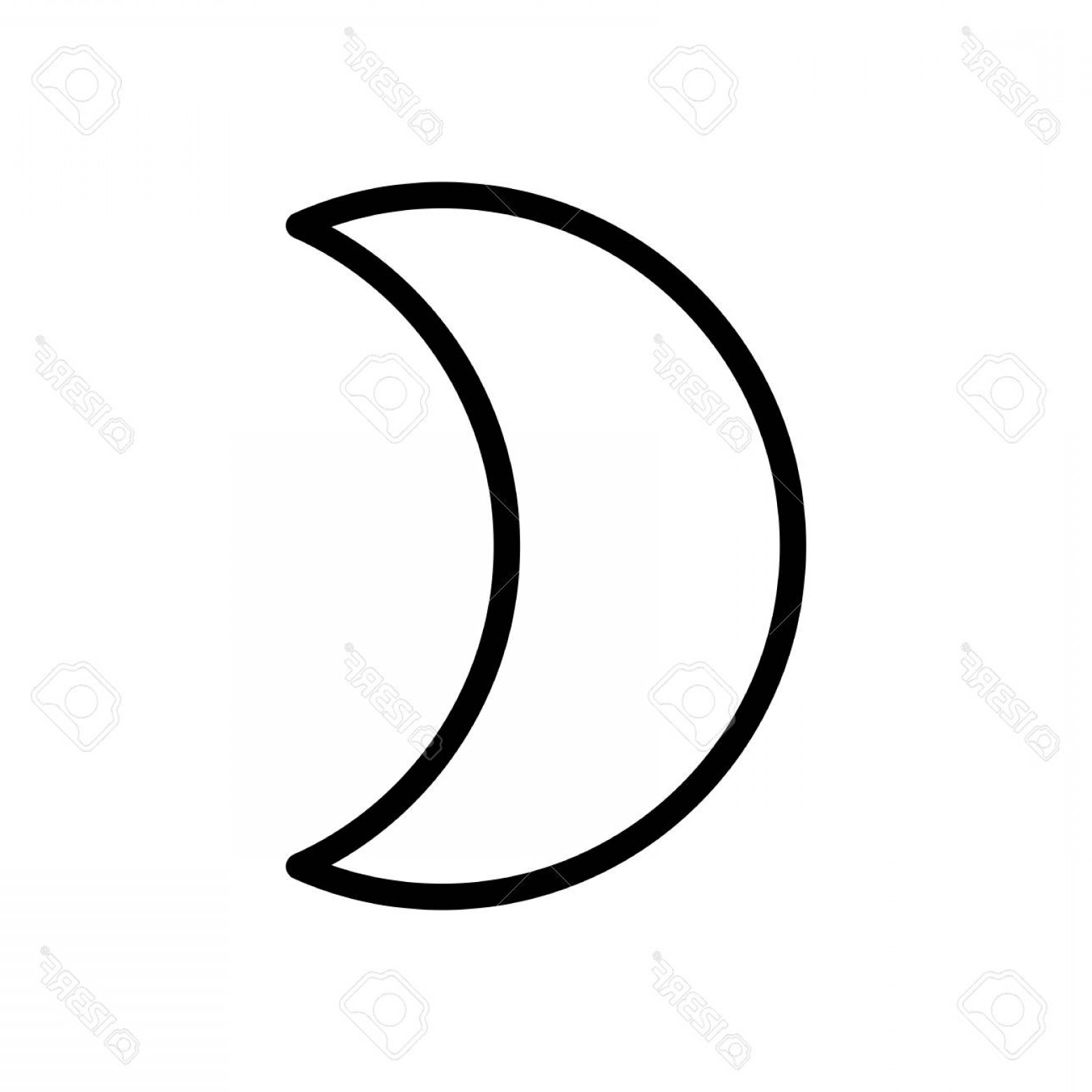 Simple Moon Vector Art: Photostock Vector Simple Moon Weather Symbol Linear Icon With Thin Outline