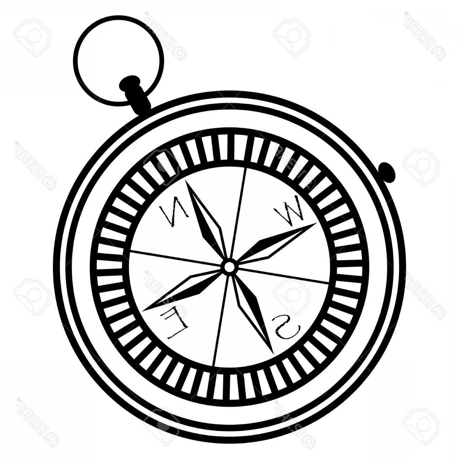 Simple Compass Vector Black And White: Photostock Vector Simple Nautical Compass Showing Directions West East South North In Black And White In Geometric Mon