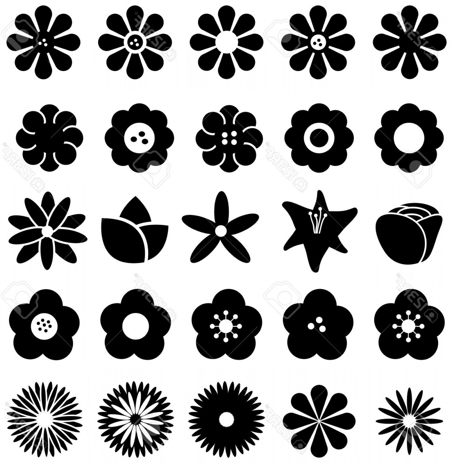 Simple Vector Daisy: Photostock Vector Simple Shape Geometric Flower Such As Rose Tulip Sunflower Daisy And Other Silhouette Icon Collectio