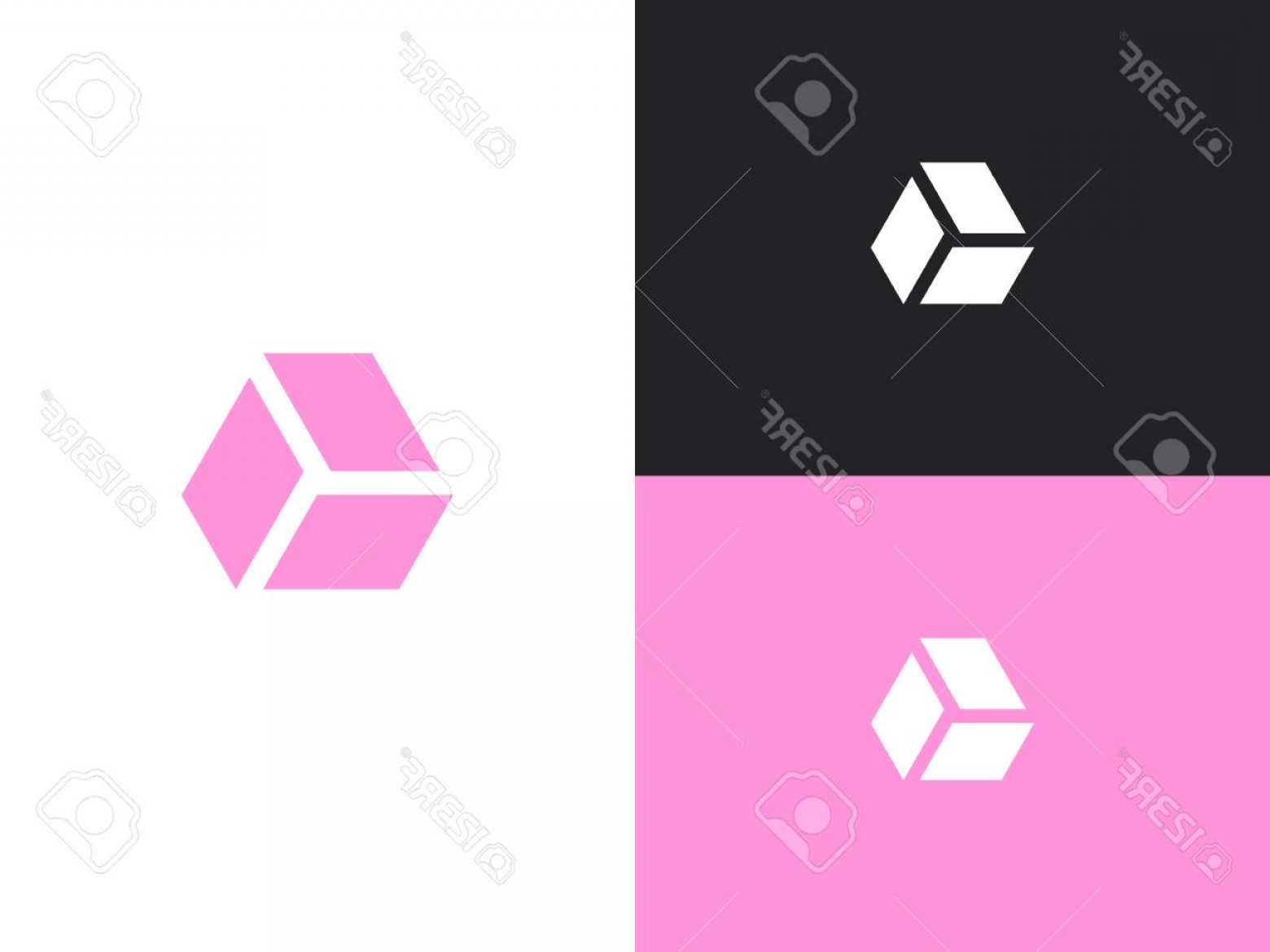 Simple Vector Logo: Photostock Vector Simple Vector Logo Design Template Pink Icon For Infographic Website Or App Isolated On Black And Wh