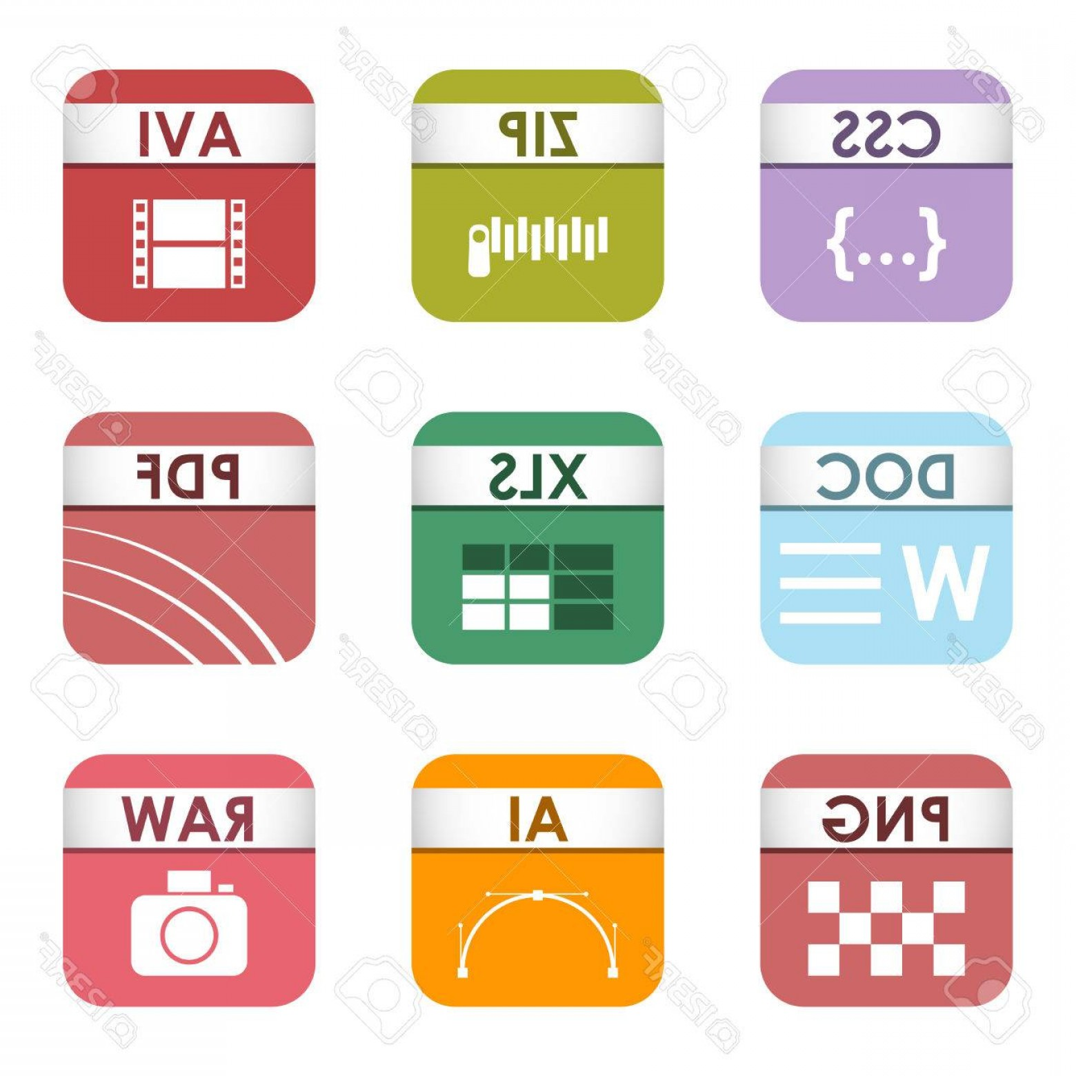 Free Vector File Software: Photostock Vector Simple Vector Square File Types And Formats Labels Icon Set File Type Format Icons Presentation Docu