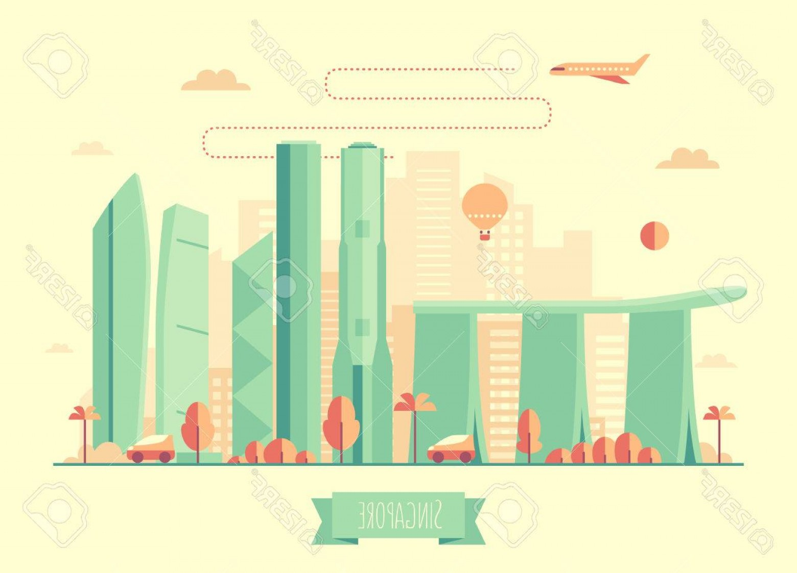 Cars Skyline Vector: Photostock Vector Singapore Skyline Architecture Vector Illustration With Plane Cars And Air Balloon Flat Design