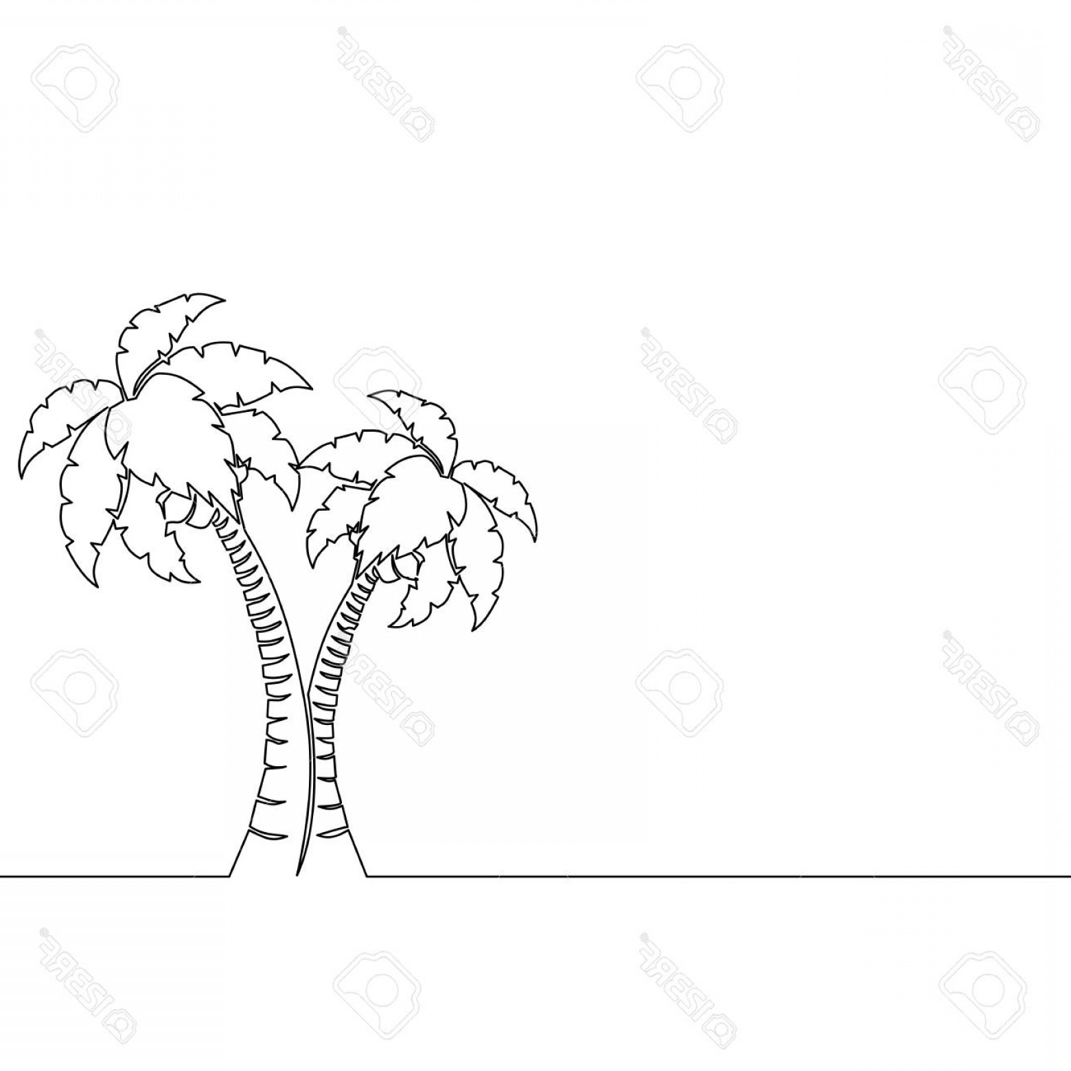 Tree Abstract Line Art And Vector: Photostock Vector Single Continuous Line Art Palm Tree Single Line Drawing Abstract Line Art Vector Illustration