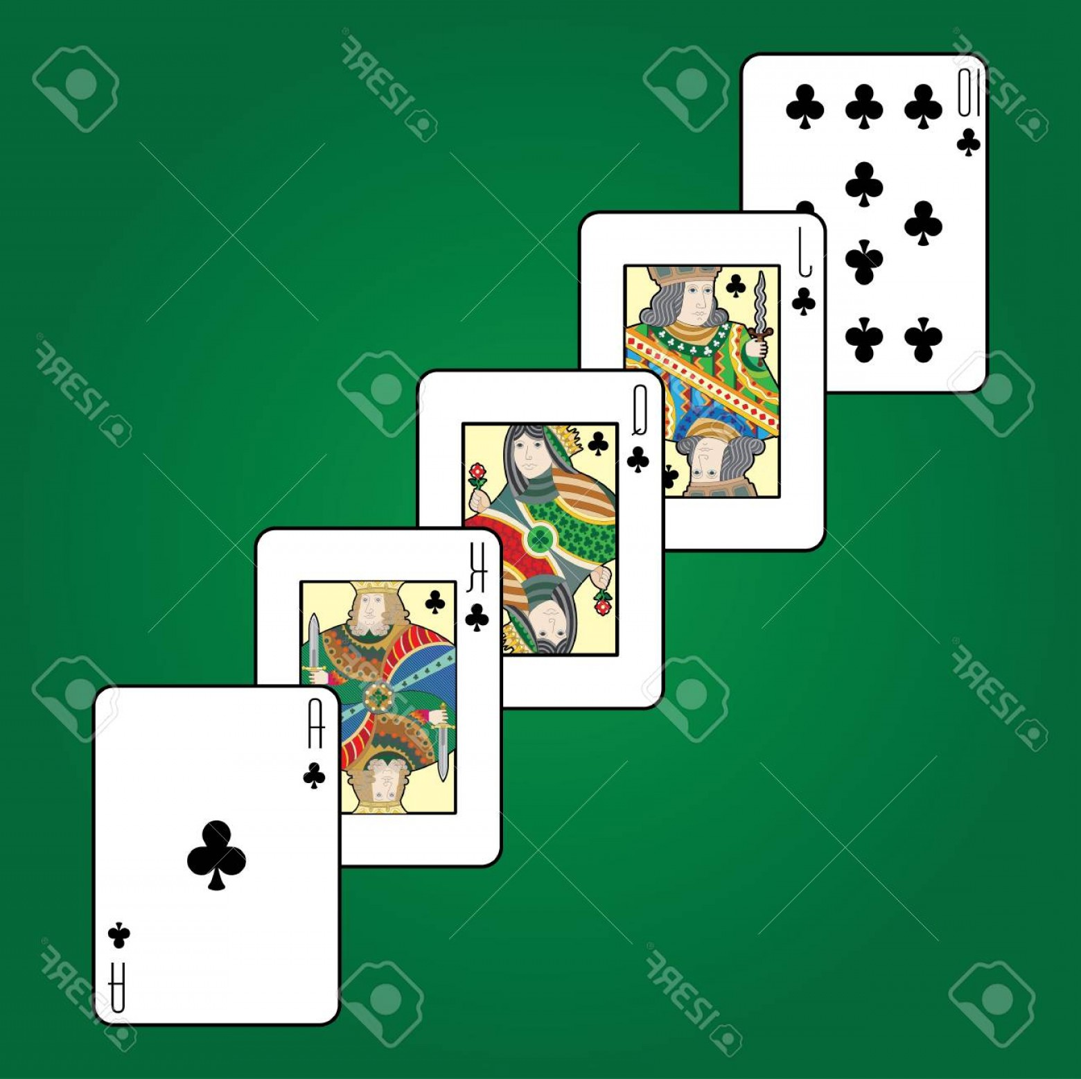 Single Playing Card Vector: Photostock Vector Single Playing Cards Vector Clubs