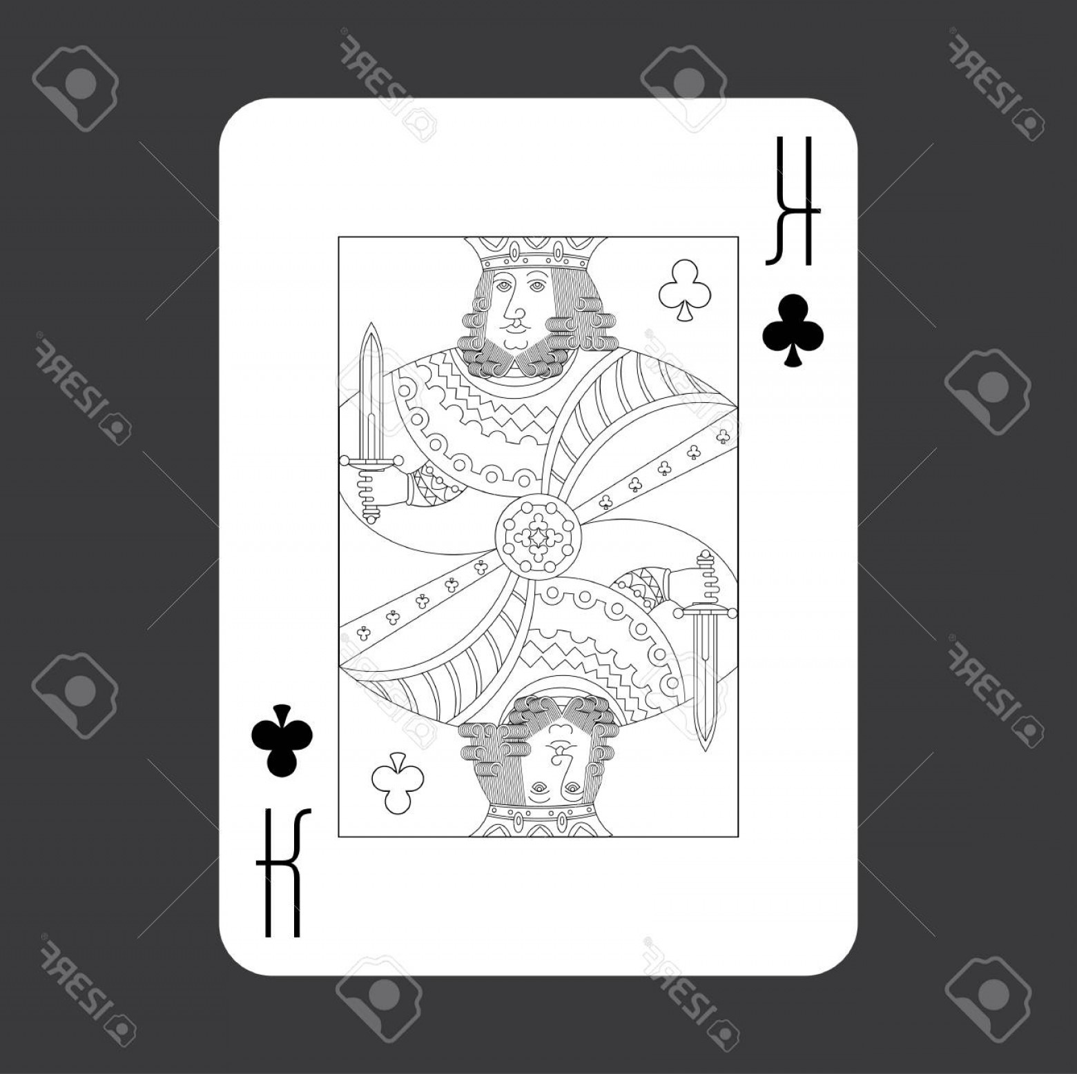 Single Playing Card Vector: Photostock Vector Single Playing Cards Vector King Of Clubs