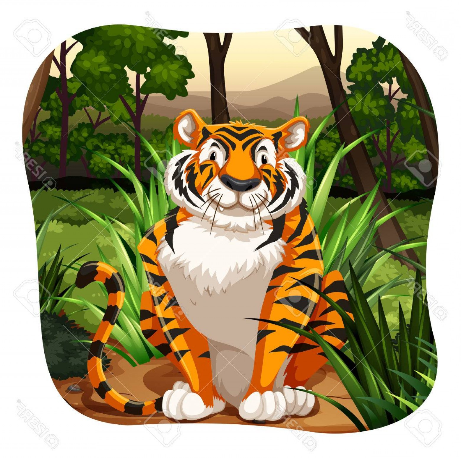Green Tiger Vector: Photostock Vector Single Tiger Sitting In The Jungle