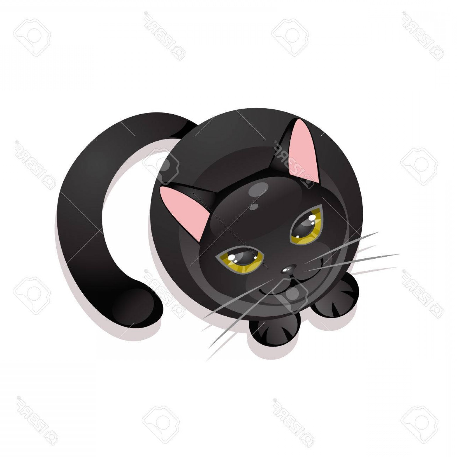 Malee Cat Head Silhouette Vector: Photostock Vector Sitting Black Cat On A White Background Top View