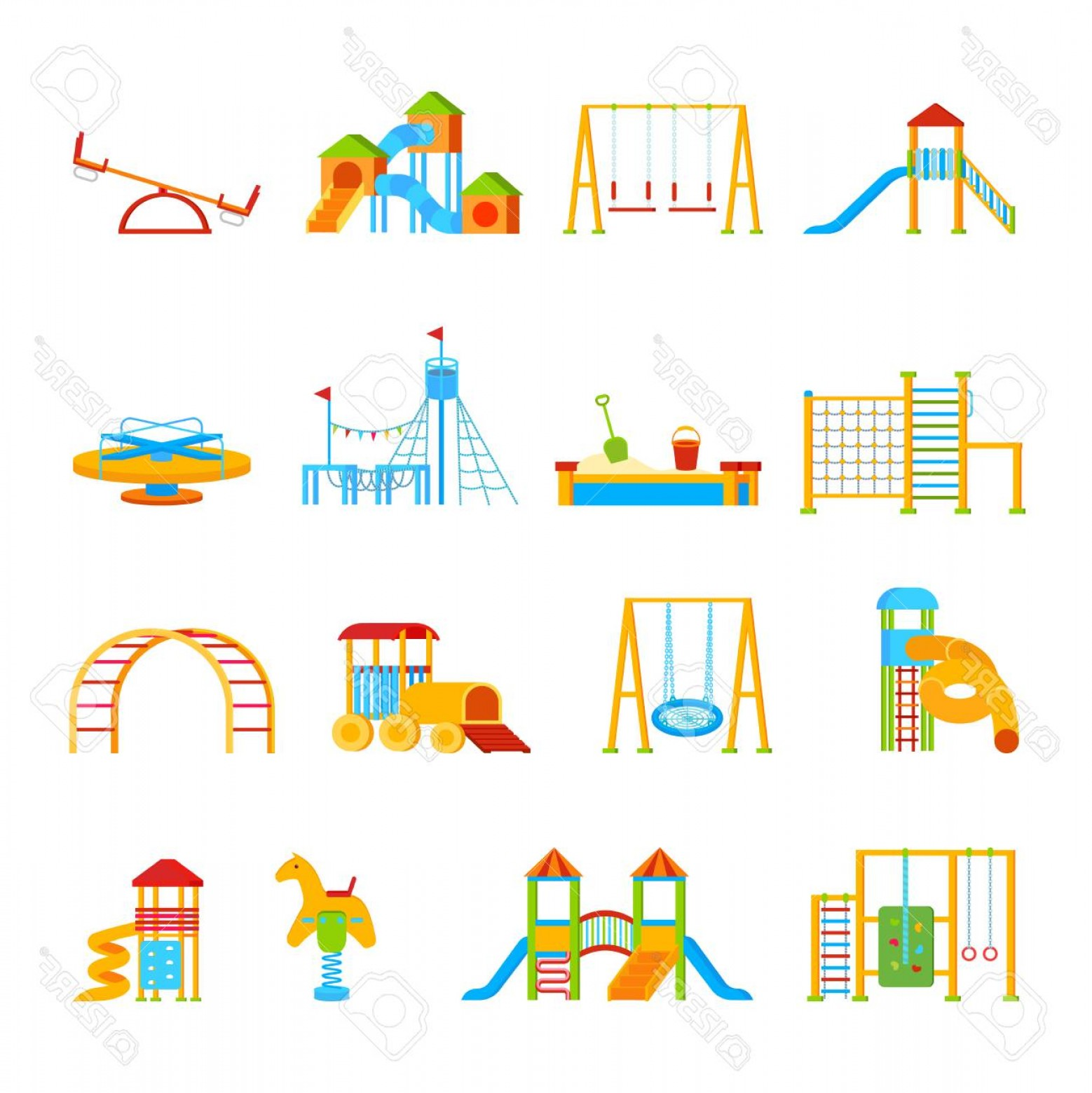 Playground Equipment Vector Art: Photostock Vector Sixteen Isolated Childrens Playground Equipment Elements Set With Flat Cartoon Icons Of Carrousels S