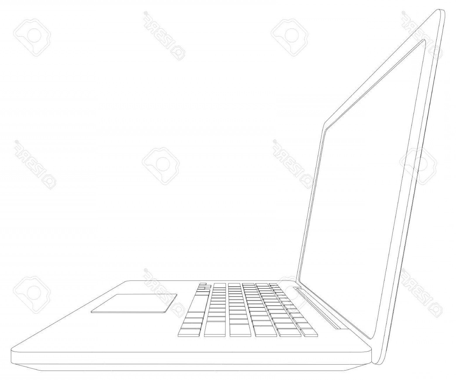 Laptop Vector Frame: Photostock Vector Sketch Of Wire Frame Open Laptop Vector Illustration Rendering Of D