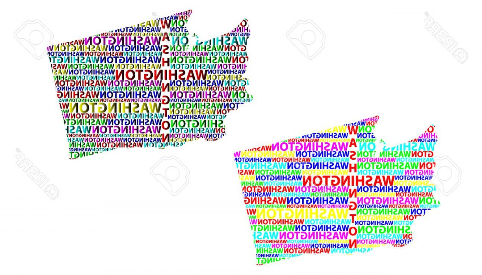 Washington State Map Vector: Photostock Vector Sketch Washington State United States Of America Letter Text Map Washington State Map In The Shape O