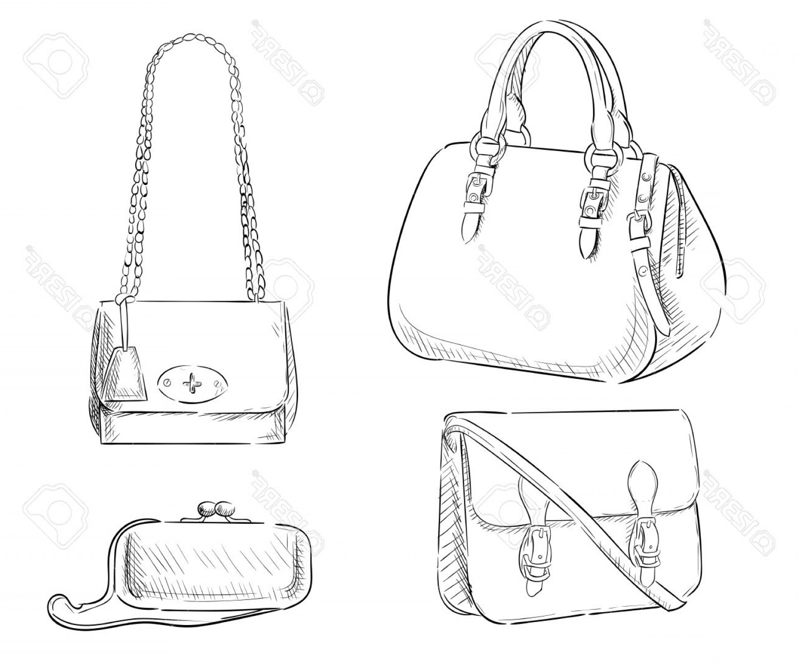 Purse Vector Art: Photostock Vector Sketches Of Bags Vector Fashion Illustration Women S Bags Hand Drawn Purses Set Of Women S Fashion A