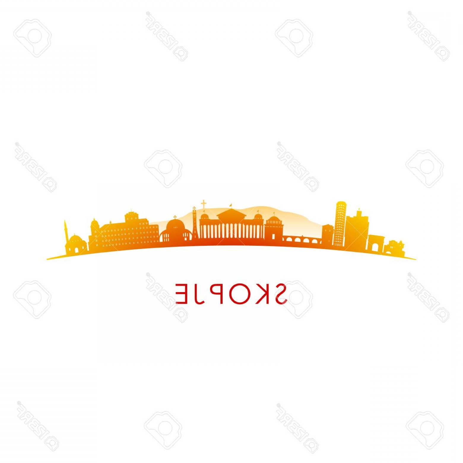 Wicked Boston Skyline Silhouette Vector: Photostock Vector Skopje Skyline Silhouette Vector Design Colorful Illustration