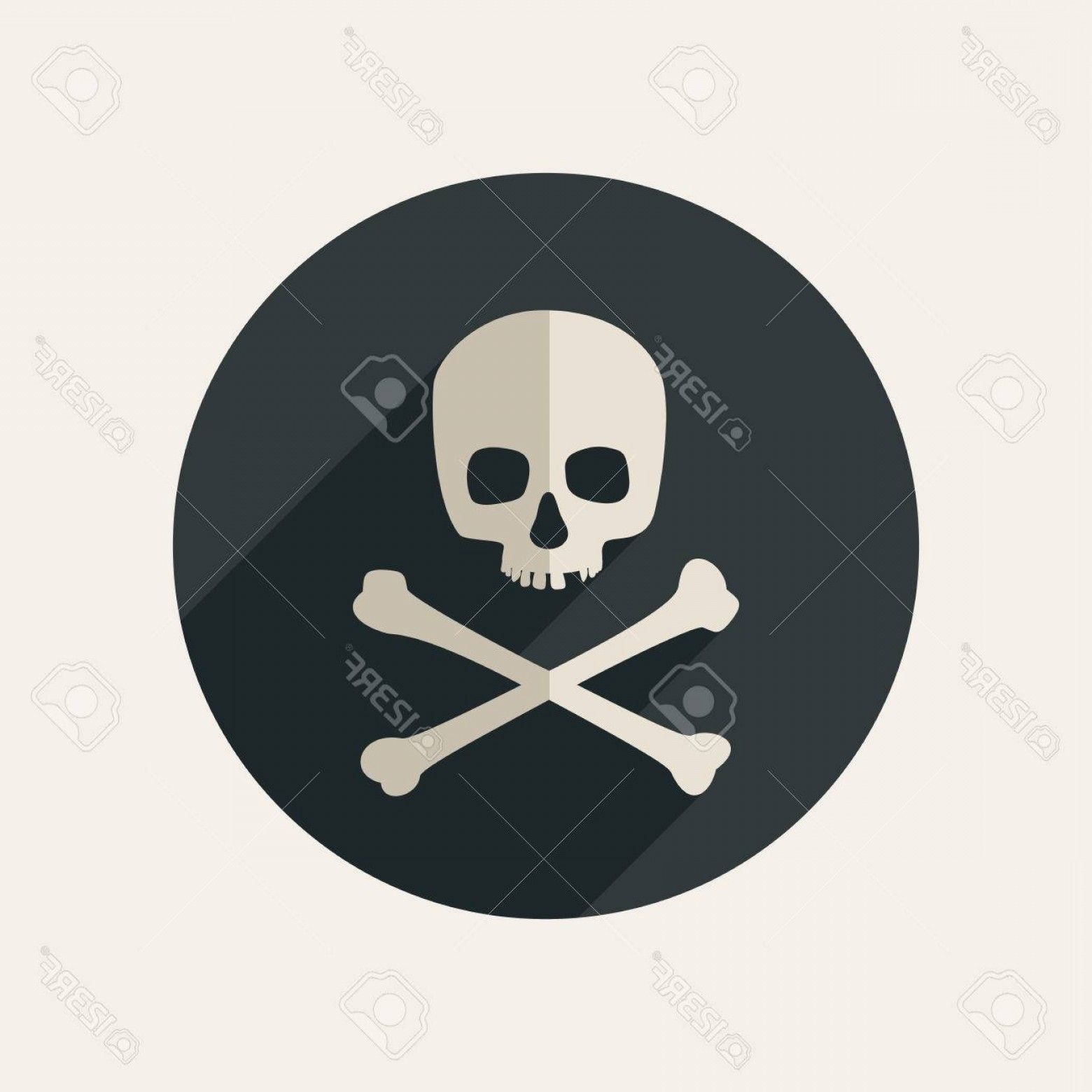 Skull ND Crossbones Vector: Photostock Vector Skull And Crossbones Icon On Round Dark Background Vector Flat Illustration