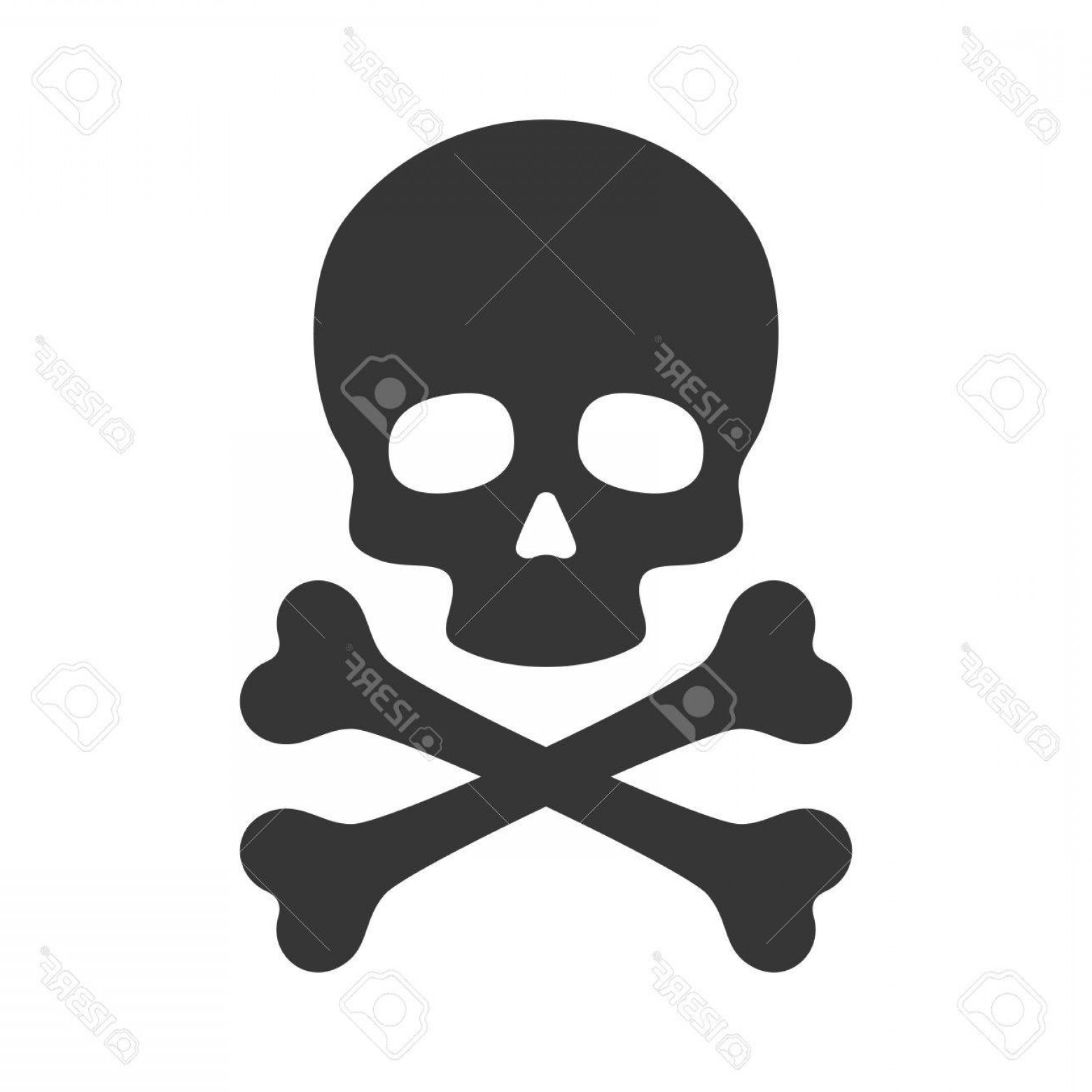 Skull ND Crossbones Vector: Photostock Vector Skull And Crossbones Icon On White Background Vector Illustration