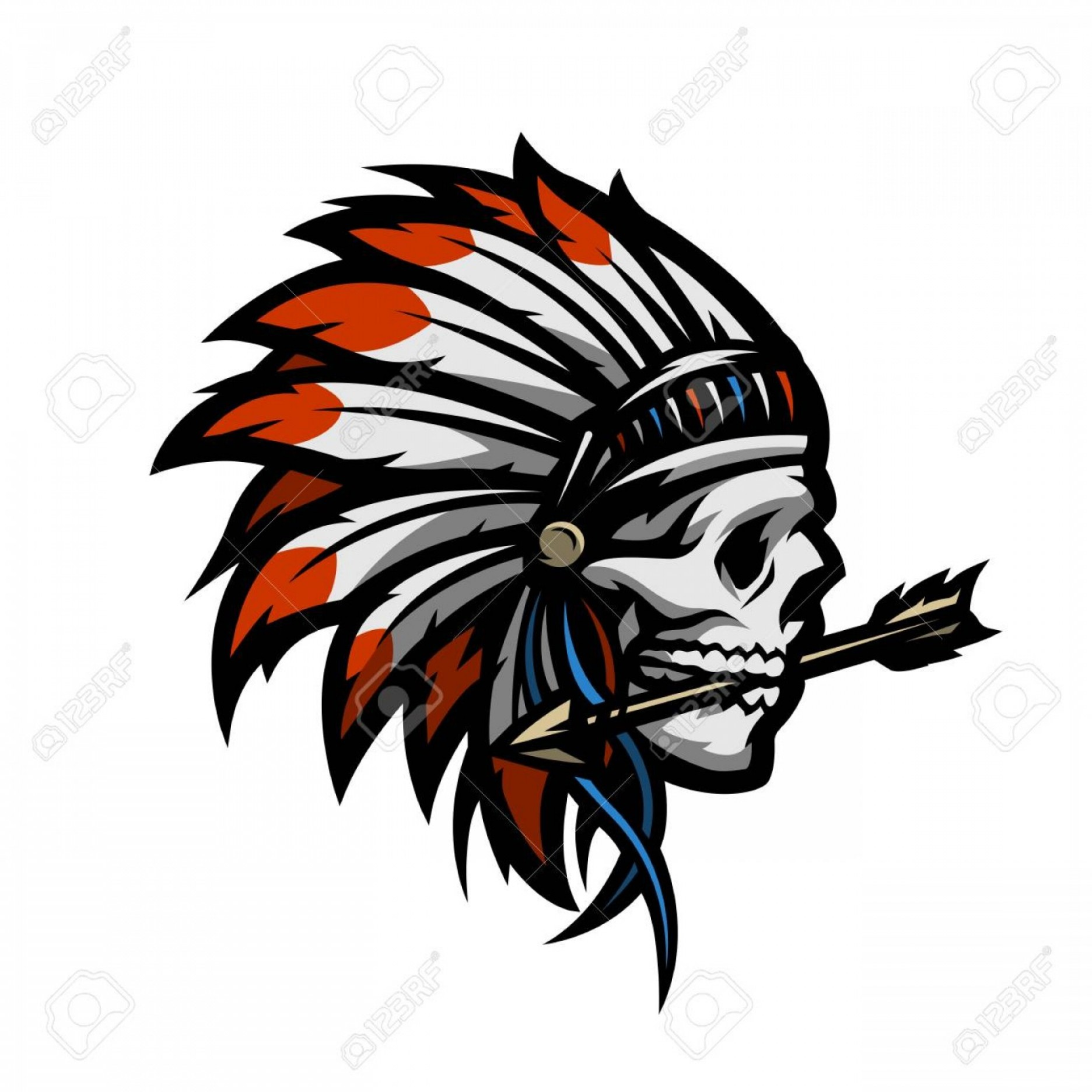 Warrior Vector Art: Photostock Vector Skull Of An Indian Warrior