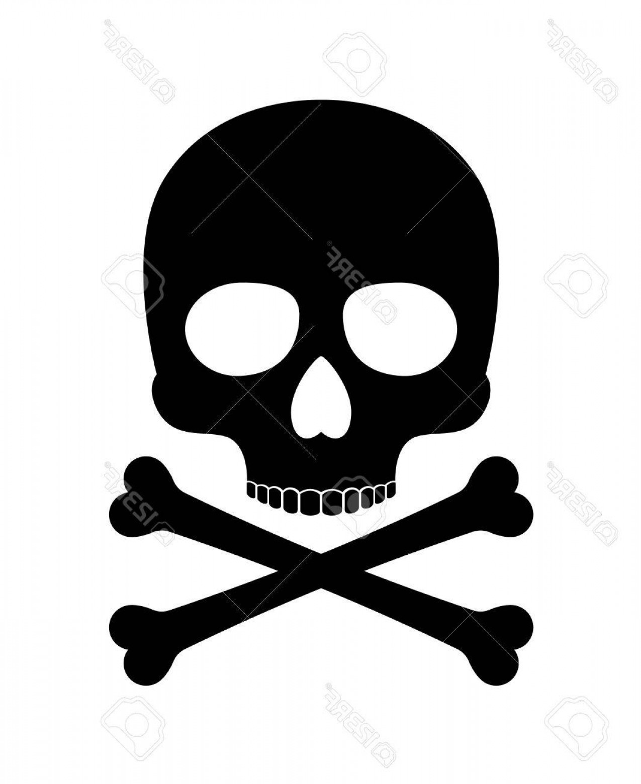Skull ND Crossbones Vector: Photostock Vector Skull Vector Silhouette Crossbones Skull Death Icon Isolated On White Background