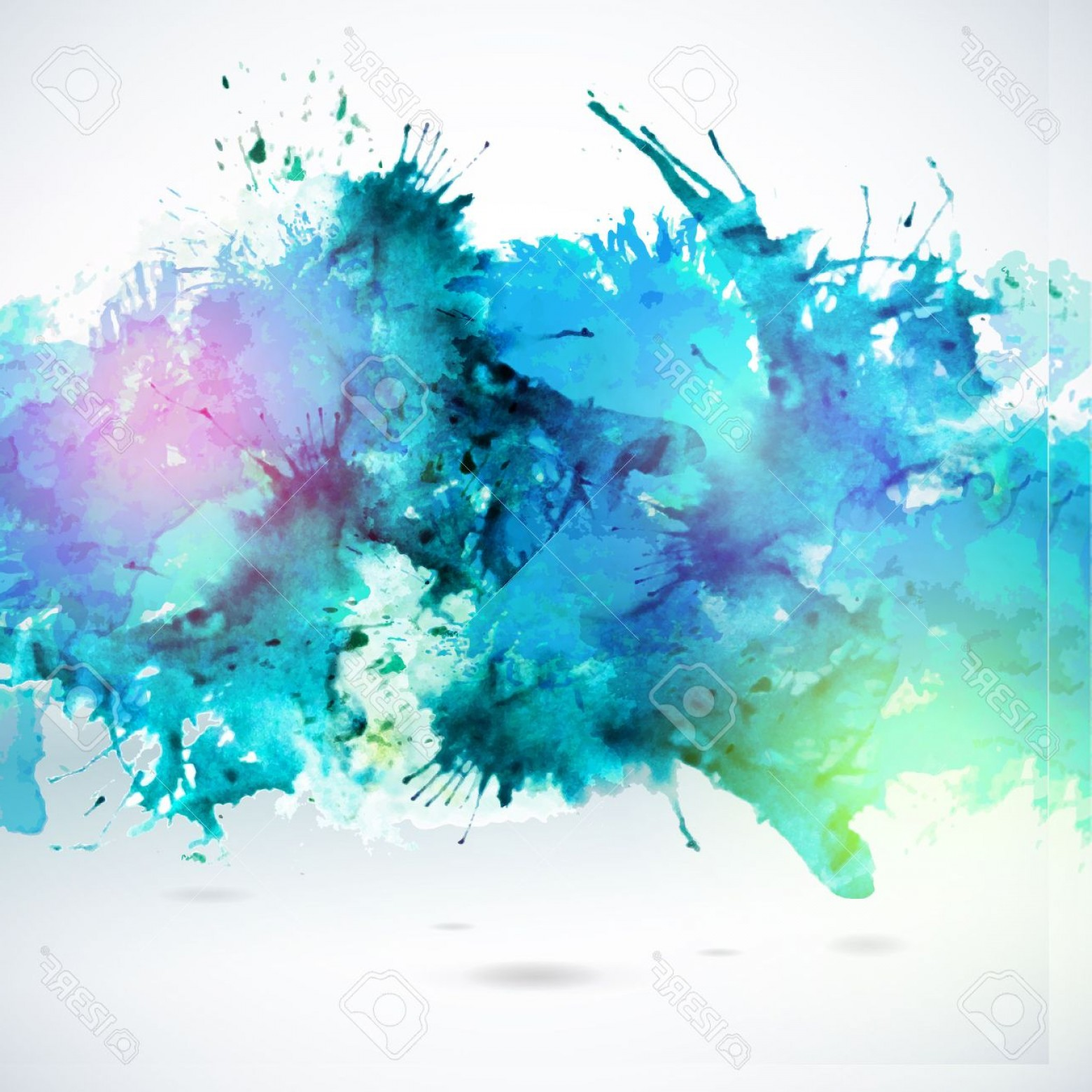 Watercolor Vector Background Free: Photostock Vector Sky Blue Centered Decorative Watercolor Background Vector Hand Drawing Abstract Illustration For Bus