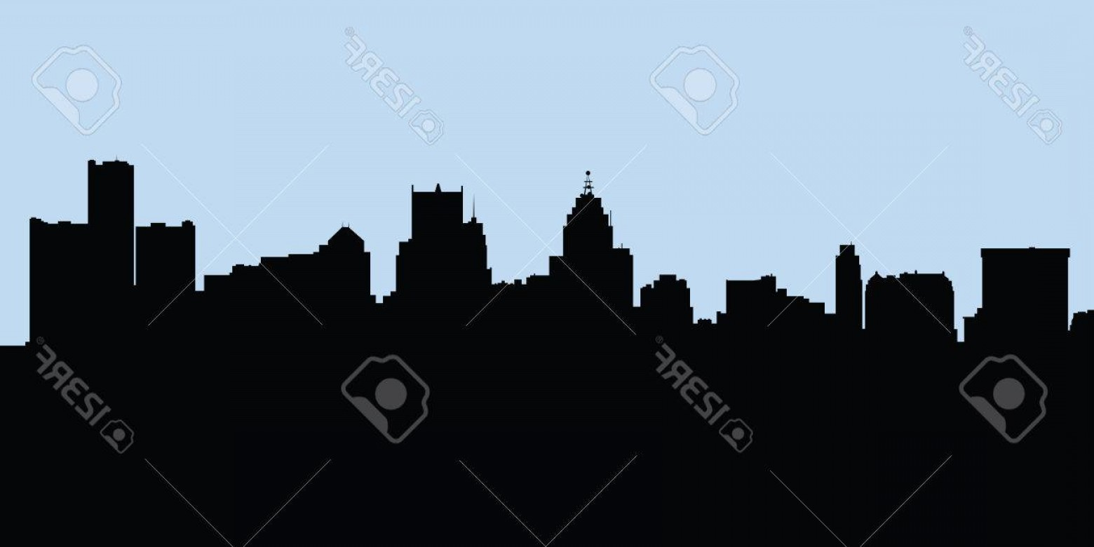 Vector Building Detroit: Photostock Vector Skyline Silhouette Of The City Of Detroit Michigan Usa