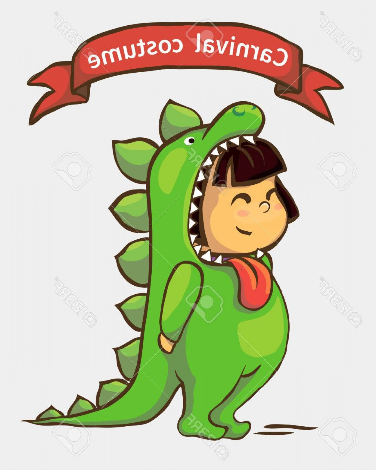 Vector The Crocodile Costume: Photostock Vector Small Girl In Carnival Suit Child In Dinosaur Costume