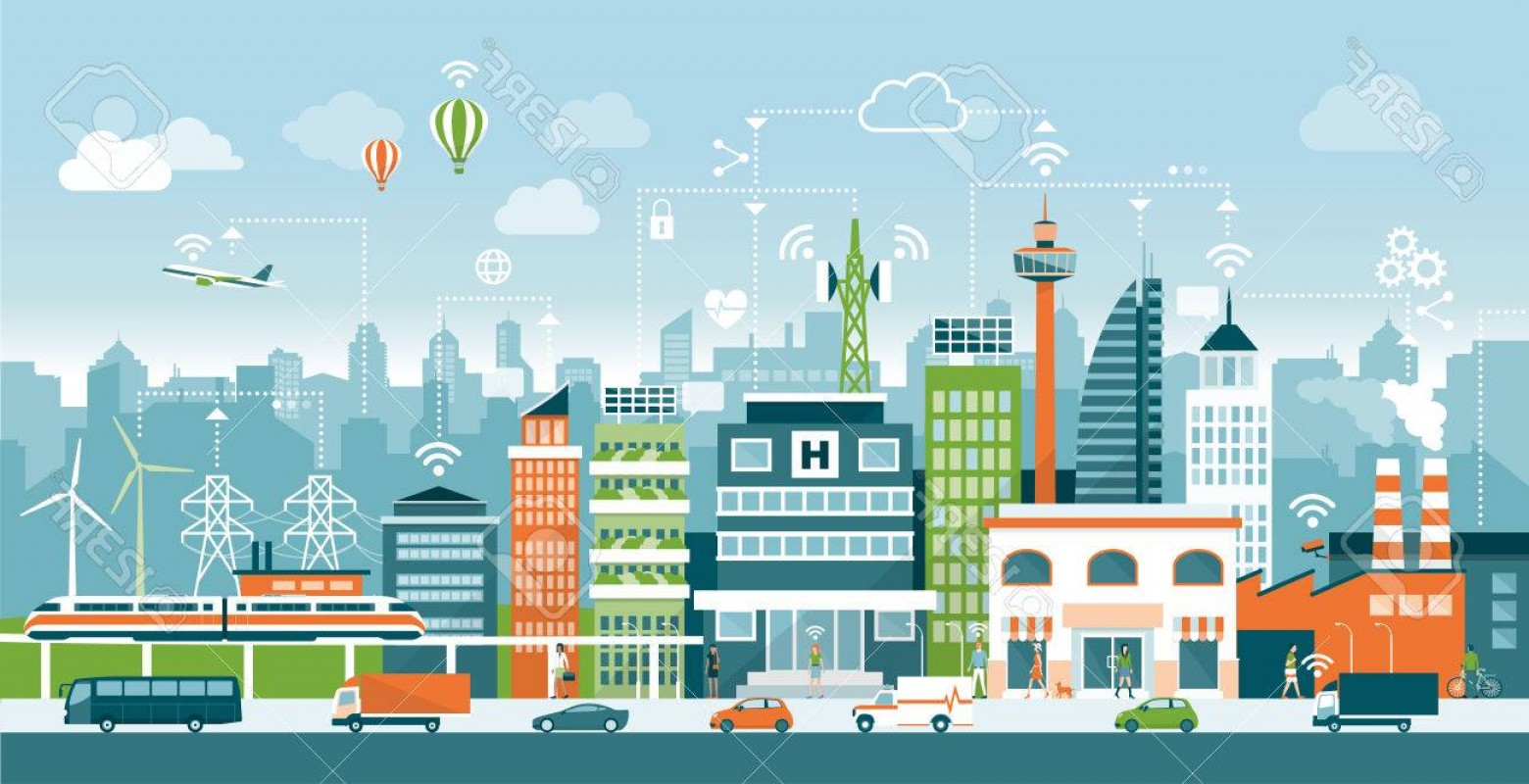 City Vector: Photostock Vector Smart City With Contemporary Buildings People And Traffic Networks Connection And Internet Of Things