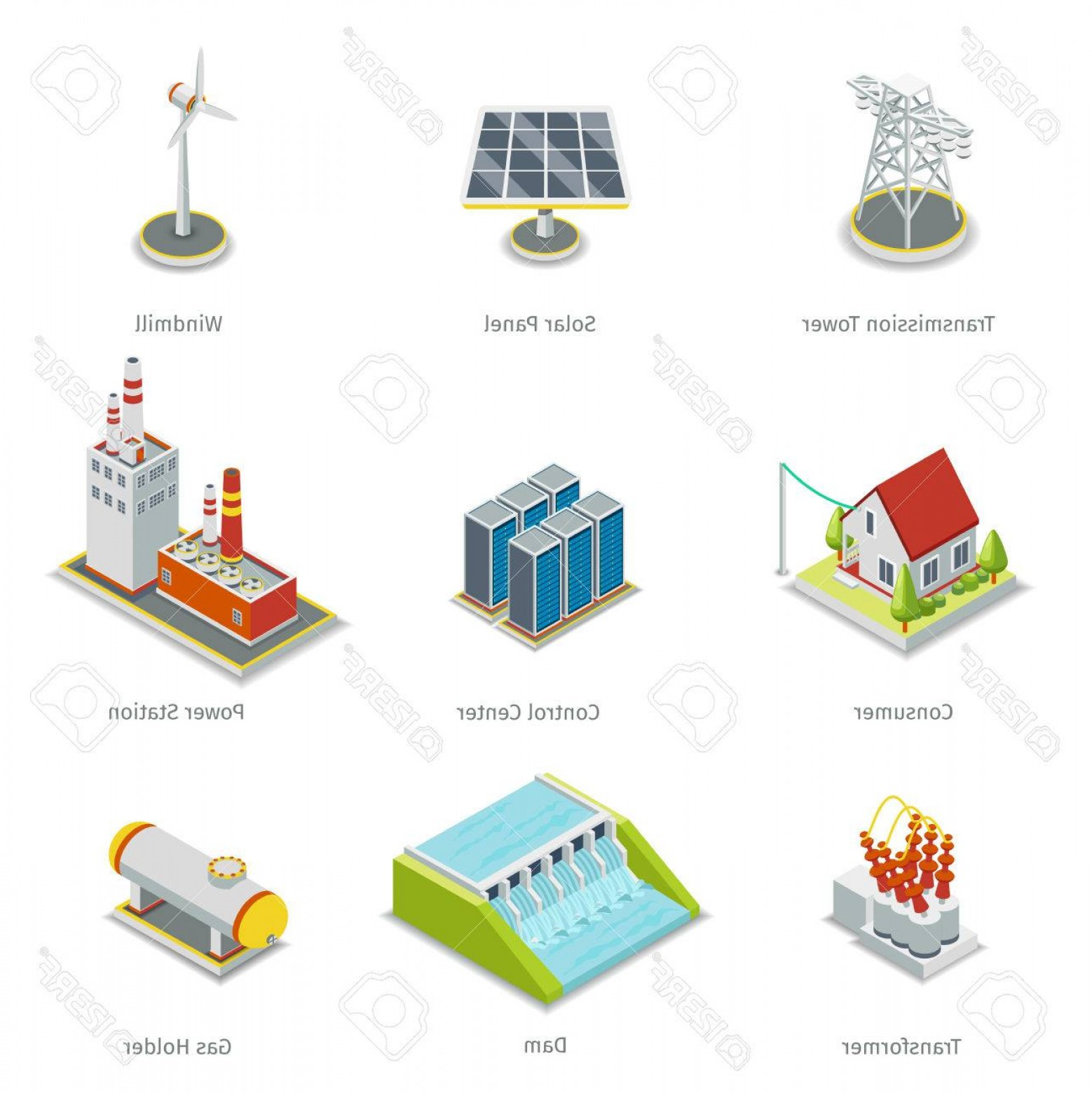 Transformer Vector Diagrams: Photostock Vector Smart Grid Elements Power Smart Grid Items Vector Set Energy And Electricity Transmission Tower Sola